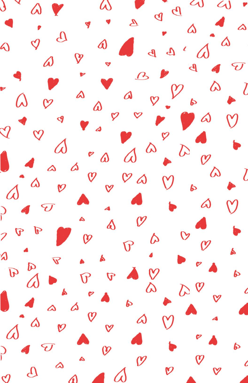 Printable Hand Drawn Valentines Day Wrapping Paper Coloring Pages Printable