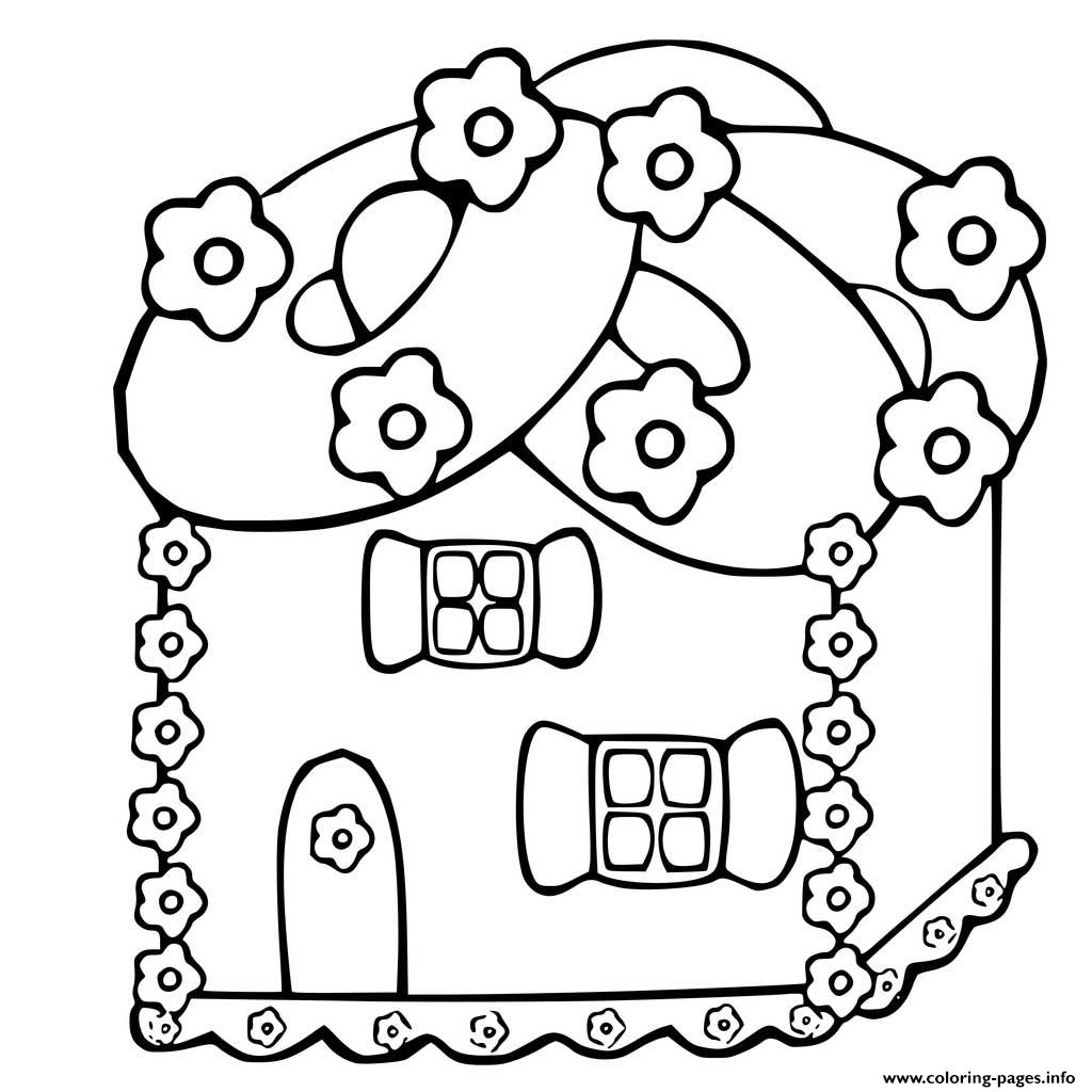 Printable Gingerbread House 2 Coloring Pages Printable