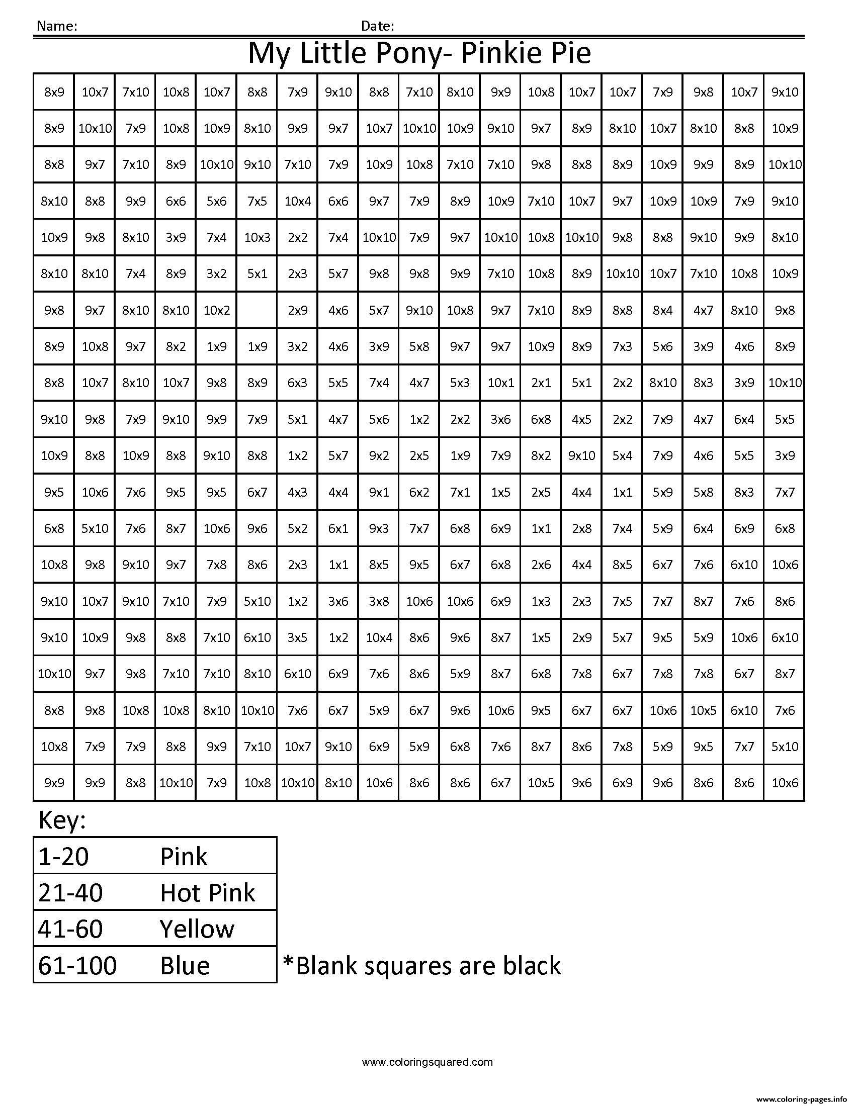 My Little Pony Cartoon Worksheet Multiplication Pixel Art