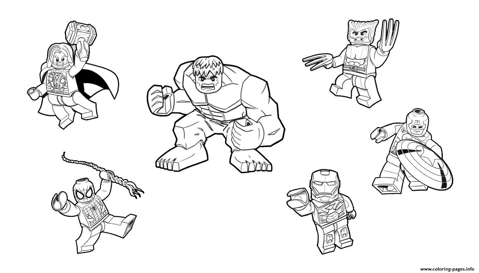 Team Lego Marvel Hulk Ironman Spiderman Thor America Wolverine Coloring Pages Printable