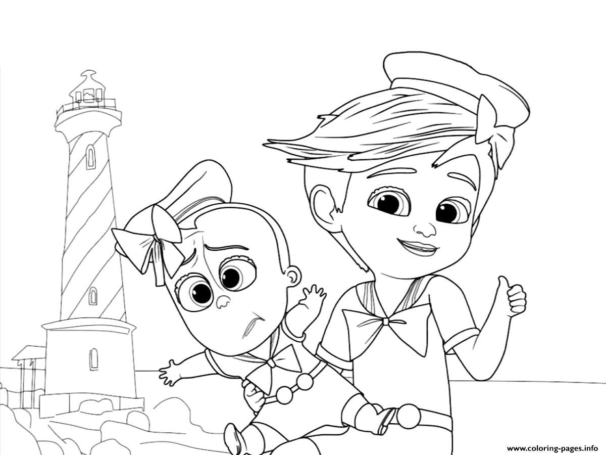 Tim And The Boss Baby Up For Some Adventure Coloring Pages Printable