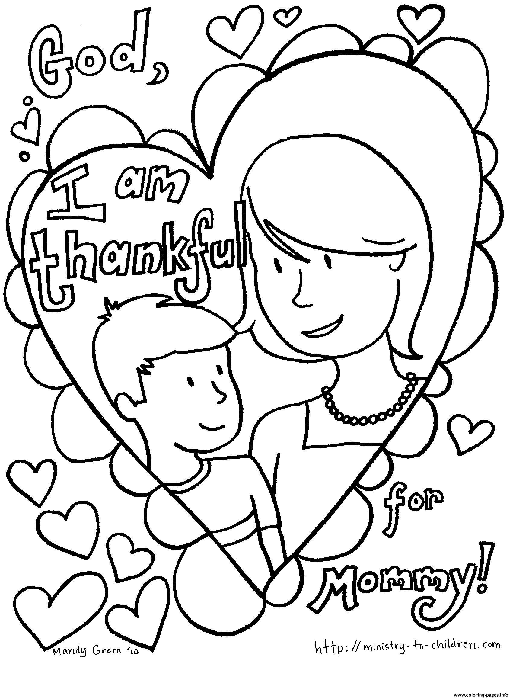 Mothers Day I Am Thankful For Mommy Coloring Pages Printable