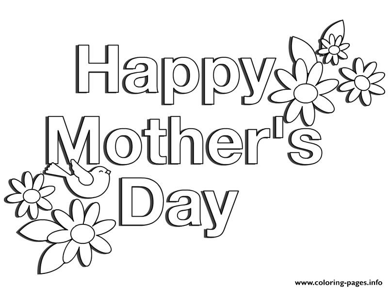 Happy Mothers Day Flowers Simple Easy Coloring Pages Printable