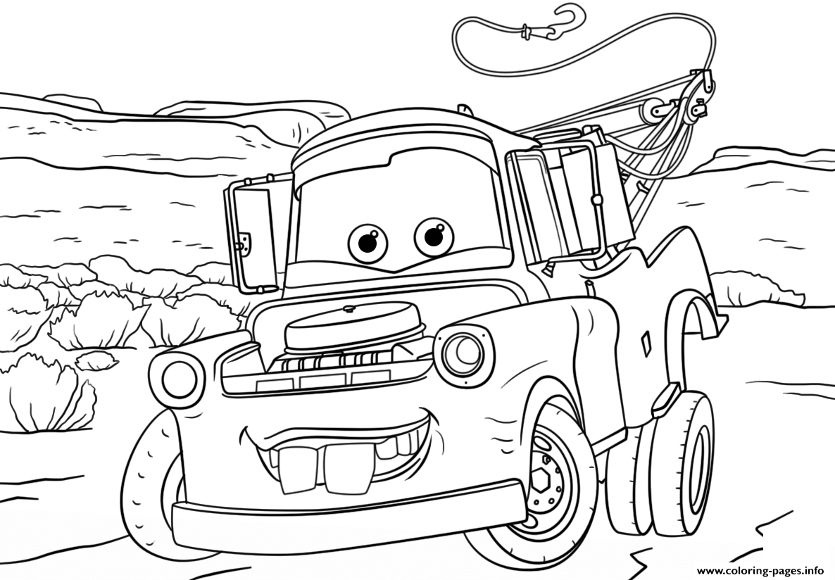 Tow Mater From Cars 3 Disney Coloring Pages Printable