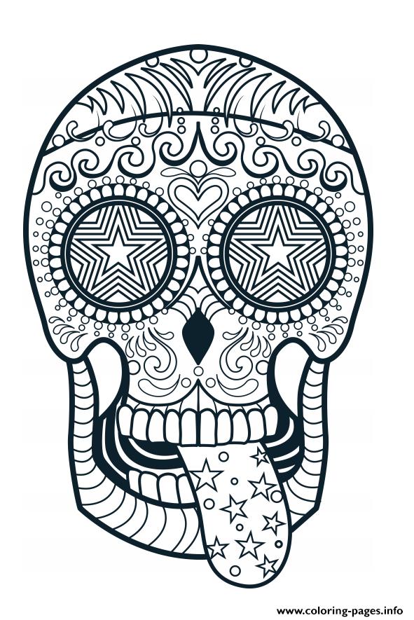 Sugar Skull Advanced Calavera Coloring Pages Printable