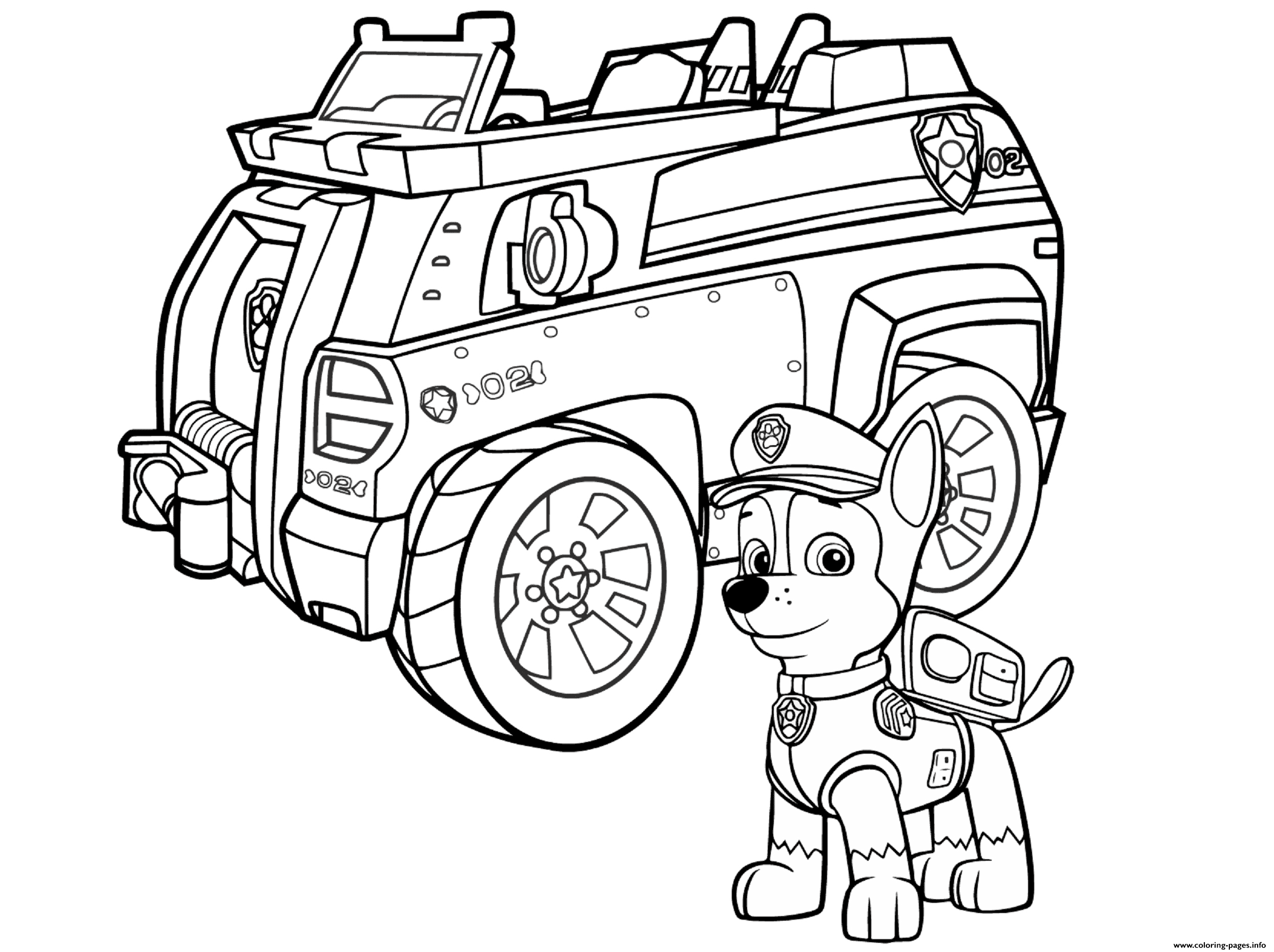 Paw Patrol Chase Police Car Coloring Pages Printable