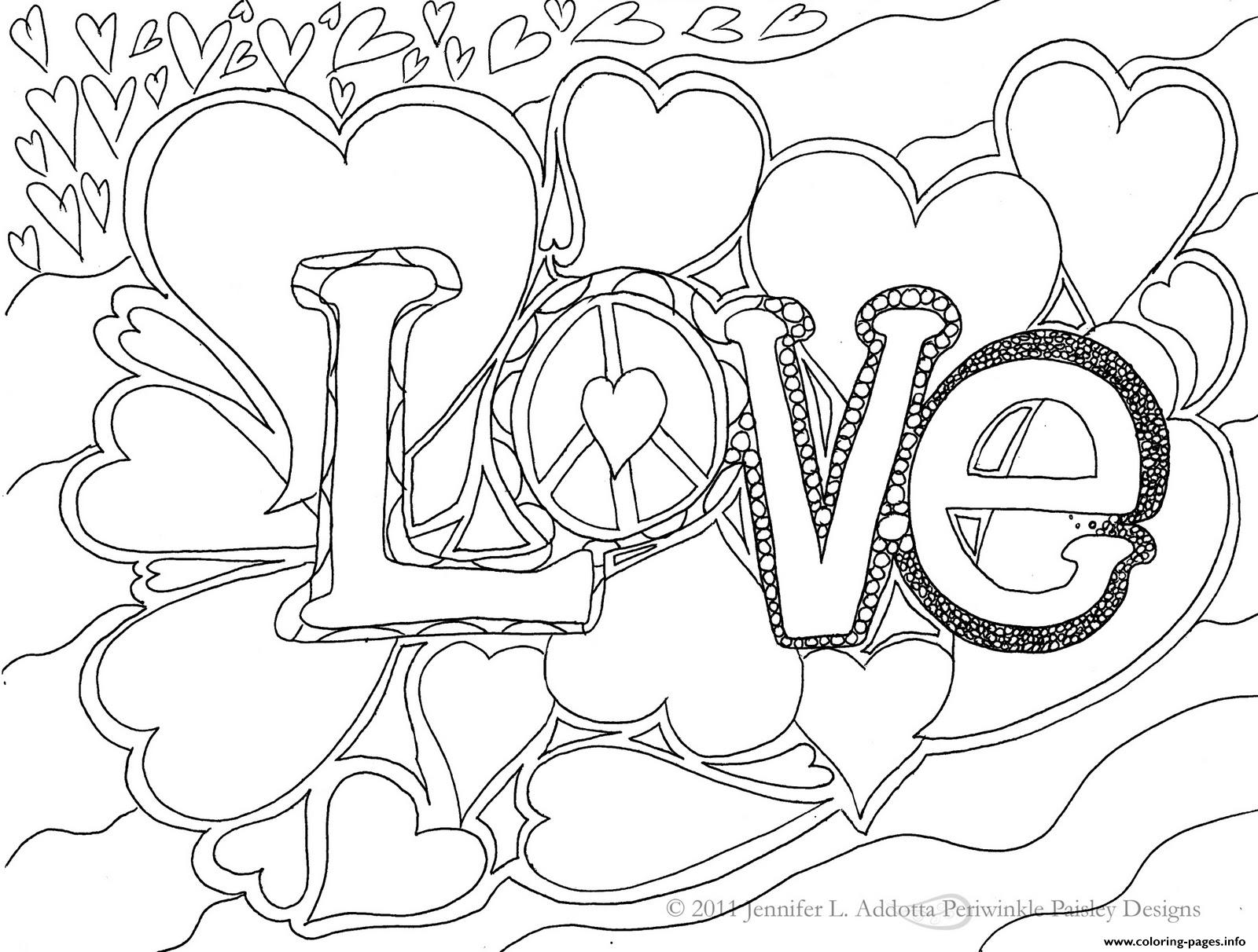 Love Word Coloring Pages Printable