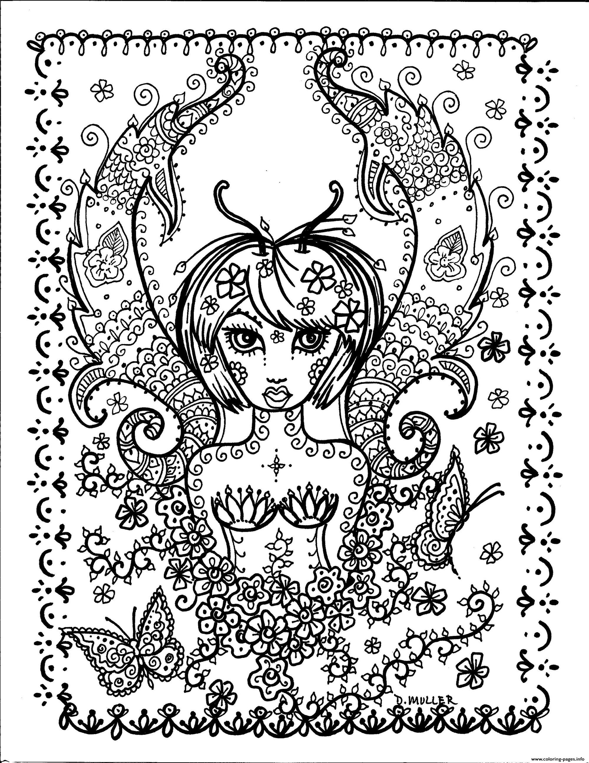 Adult Girl Butterfly By Deborah Muller Coloring Pages