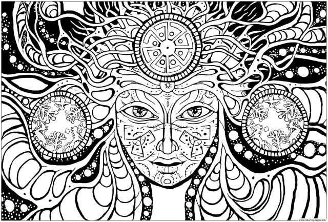 Adult Difficult Psychedelic Femme Coloring Pages Printable