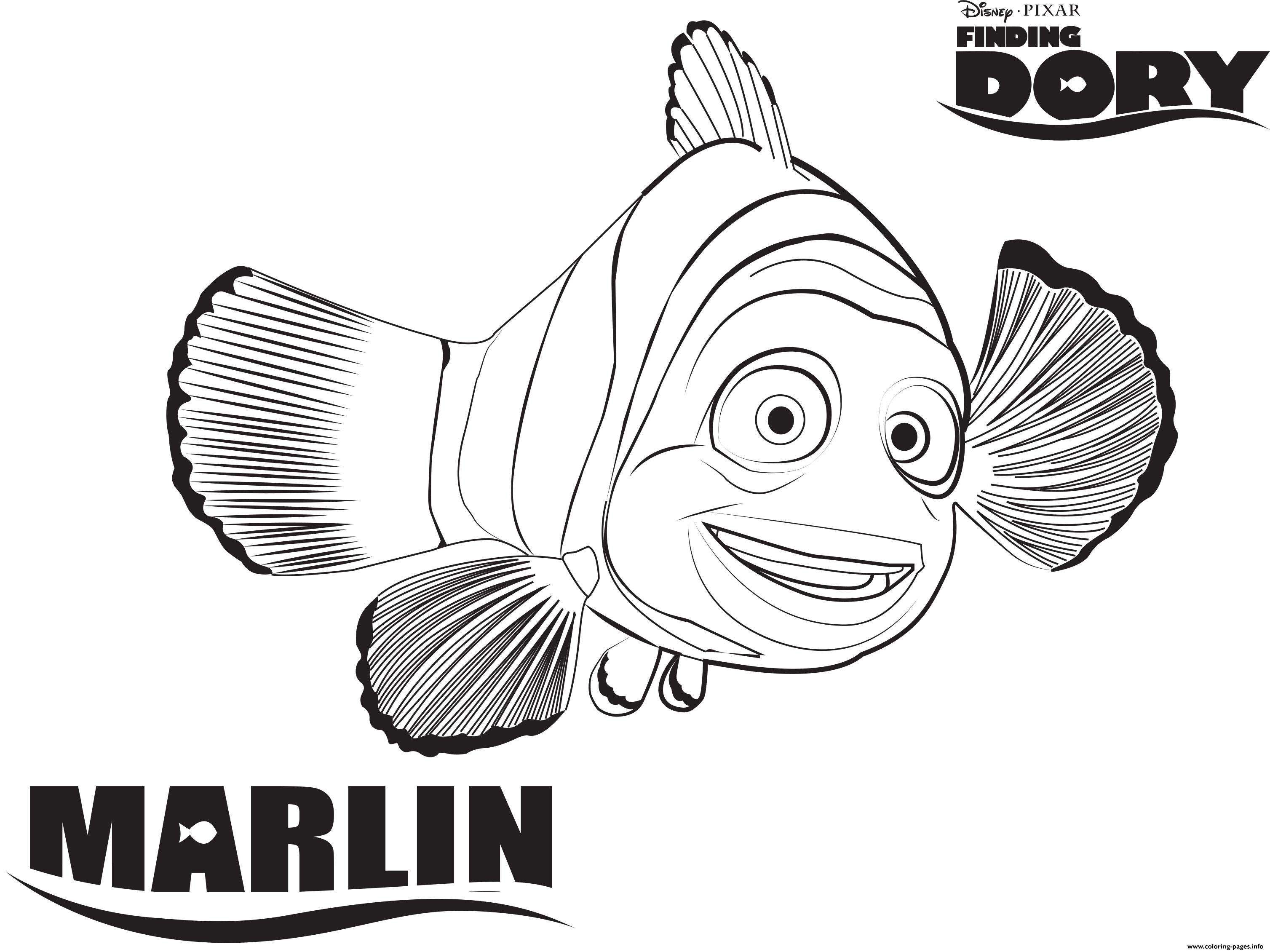 Marlin From Finding Nemo Disney Coloring Pages Printable