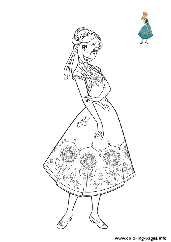 Anna Beautiful Dress For Summer Frozen Coloring Pages