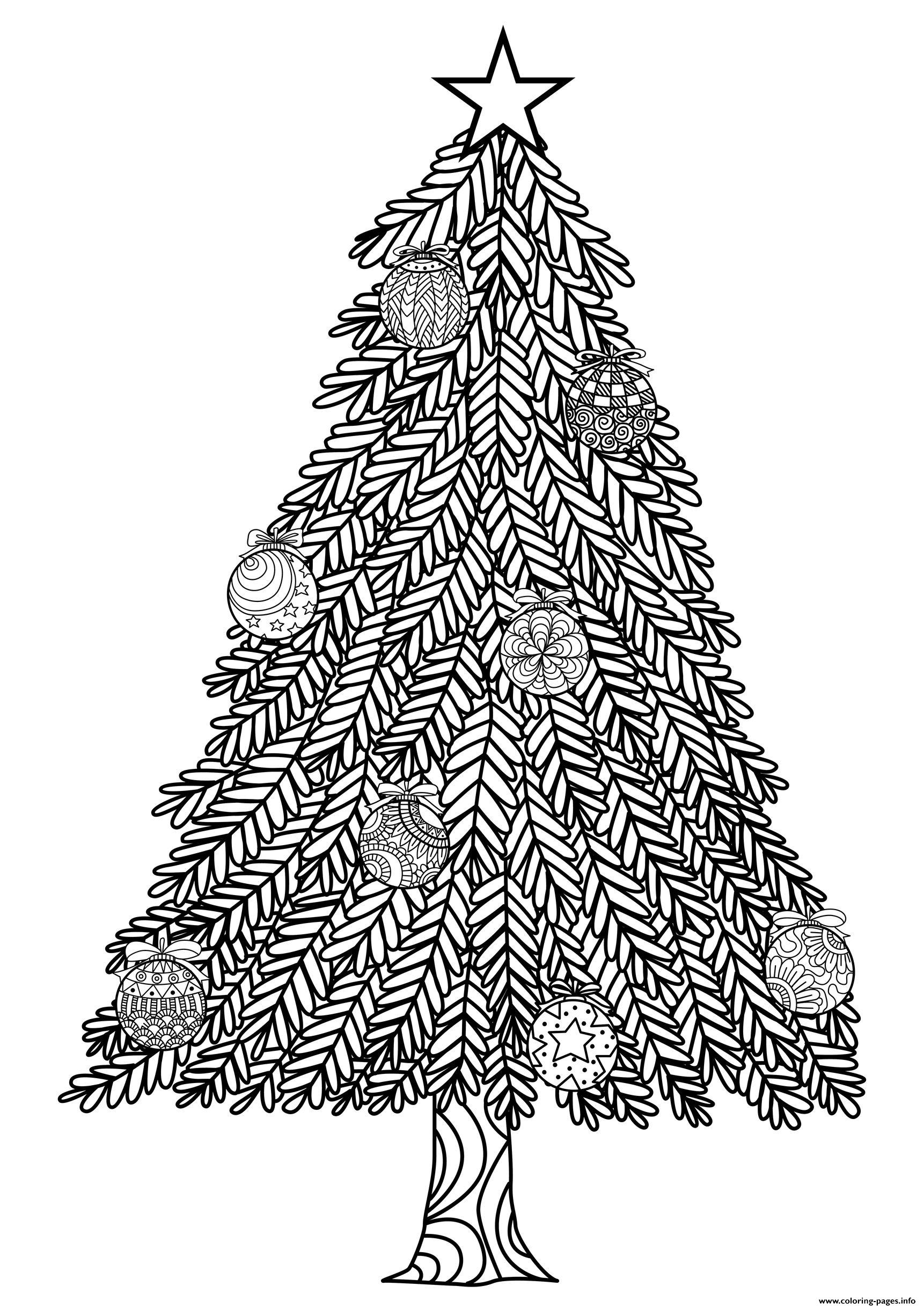 Adult Christmas Tree With Ball Ornaments By Bimdeedee ... | christmas tree coloring pages for adults