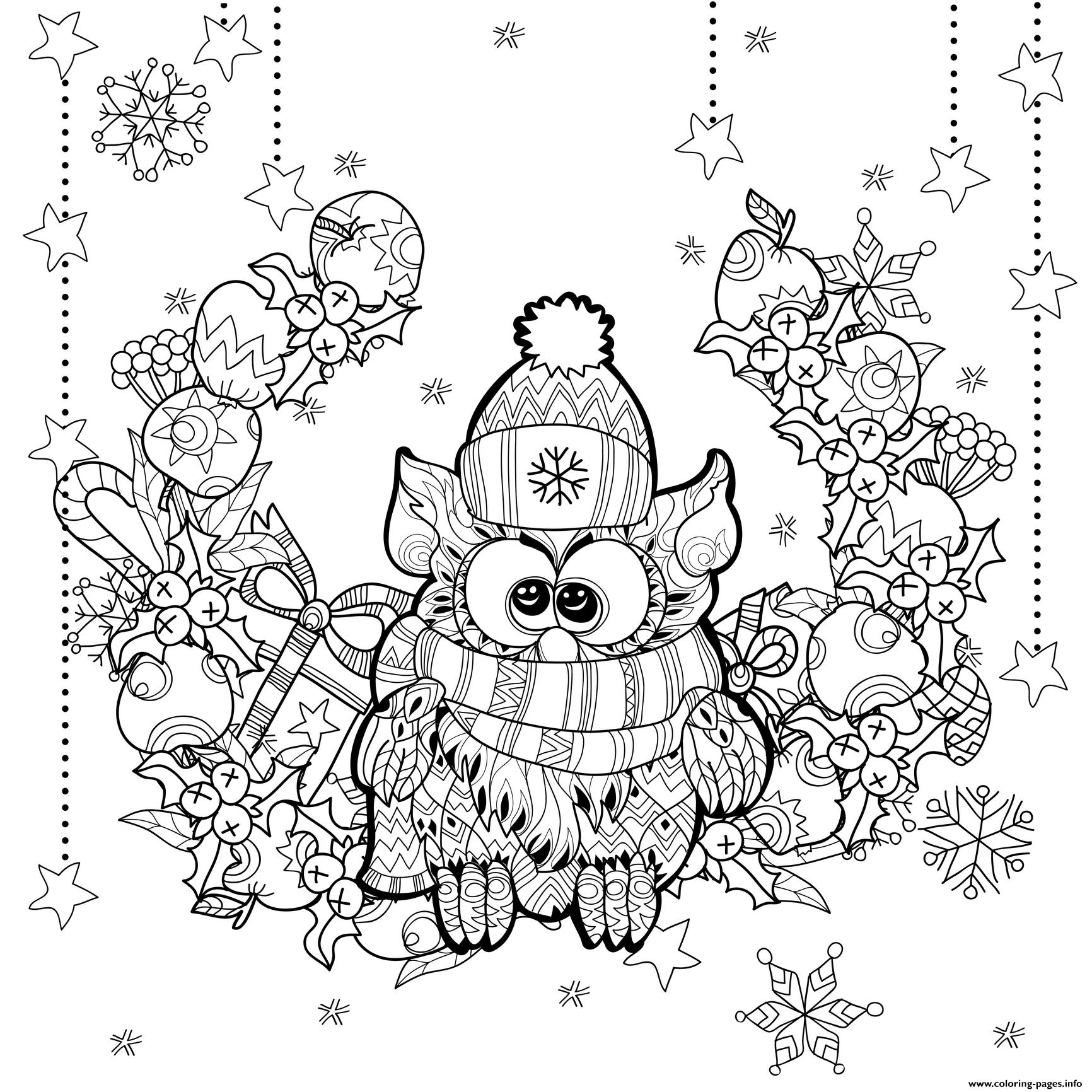 Zentangle Christmas Owl By Irina Yazeva Coloring Pages Printable