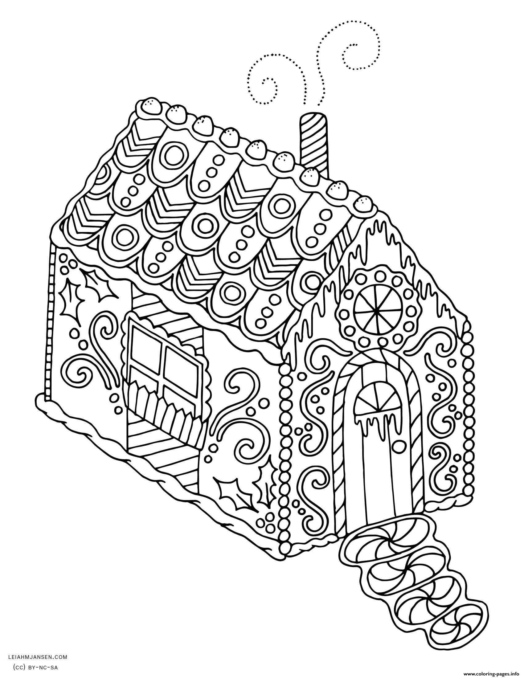 Gingerbread House Christmas Adult Coloring Pages Printable