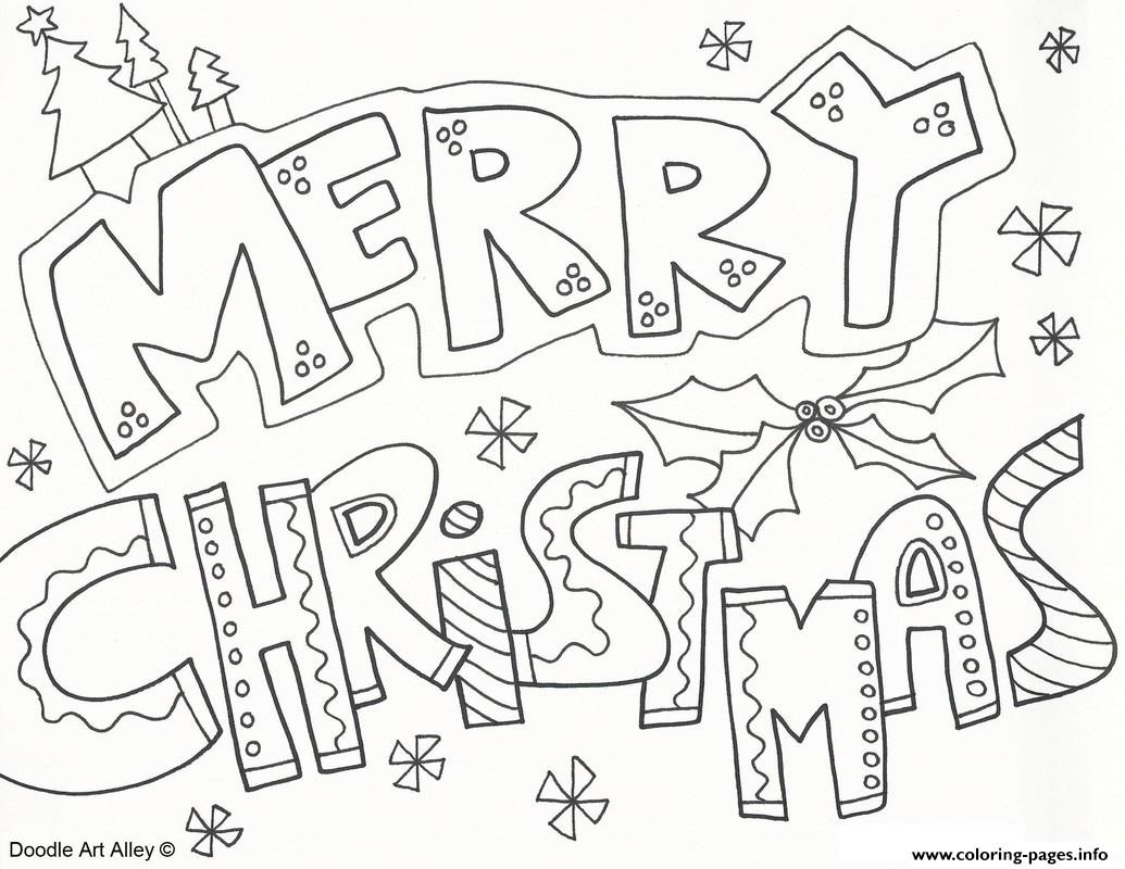 Merry Christmas Doodle Coloring Pages Printable