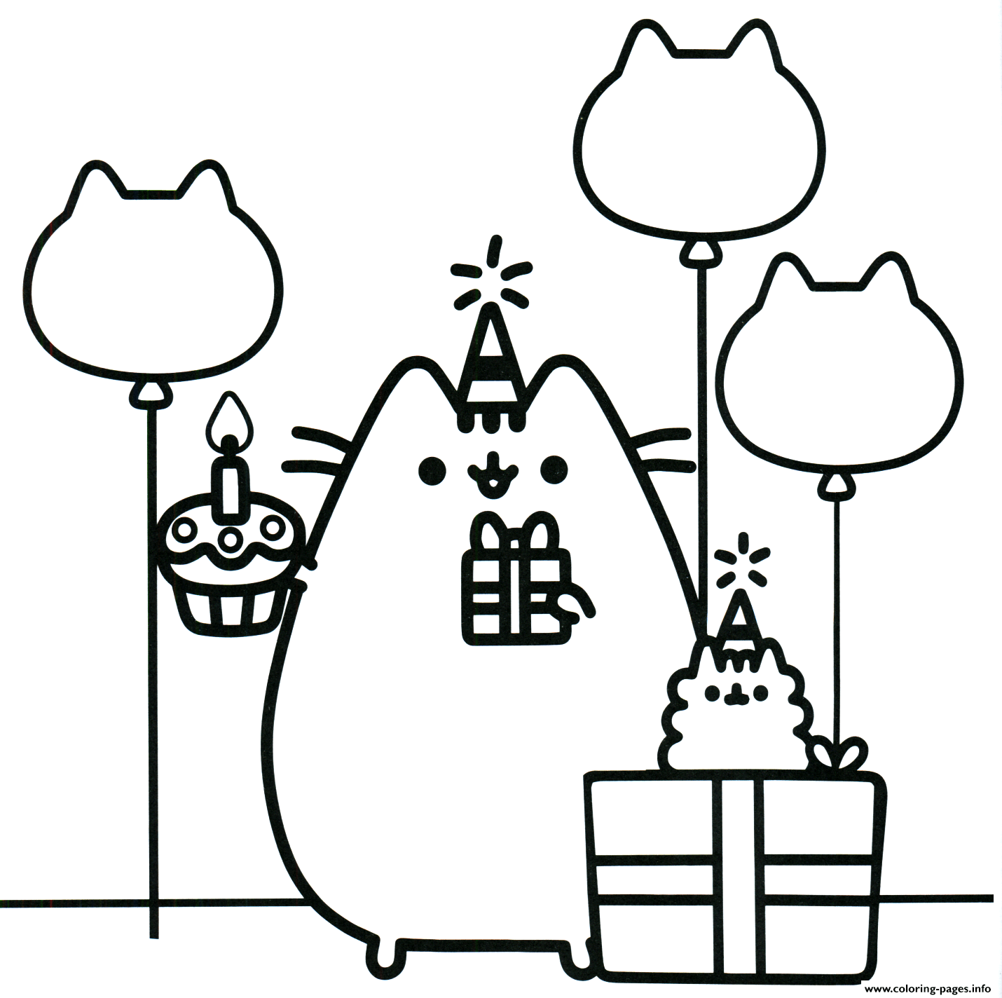 Pusheen The Cat Party Coloring Pages Printable