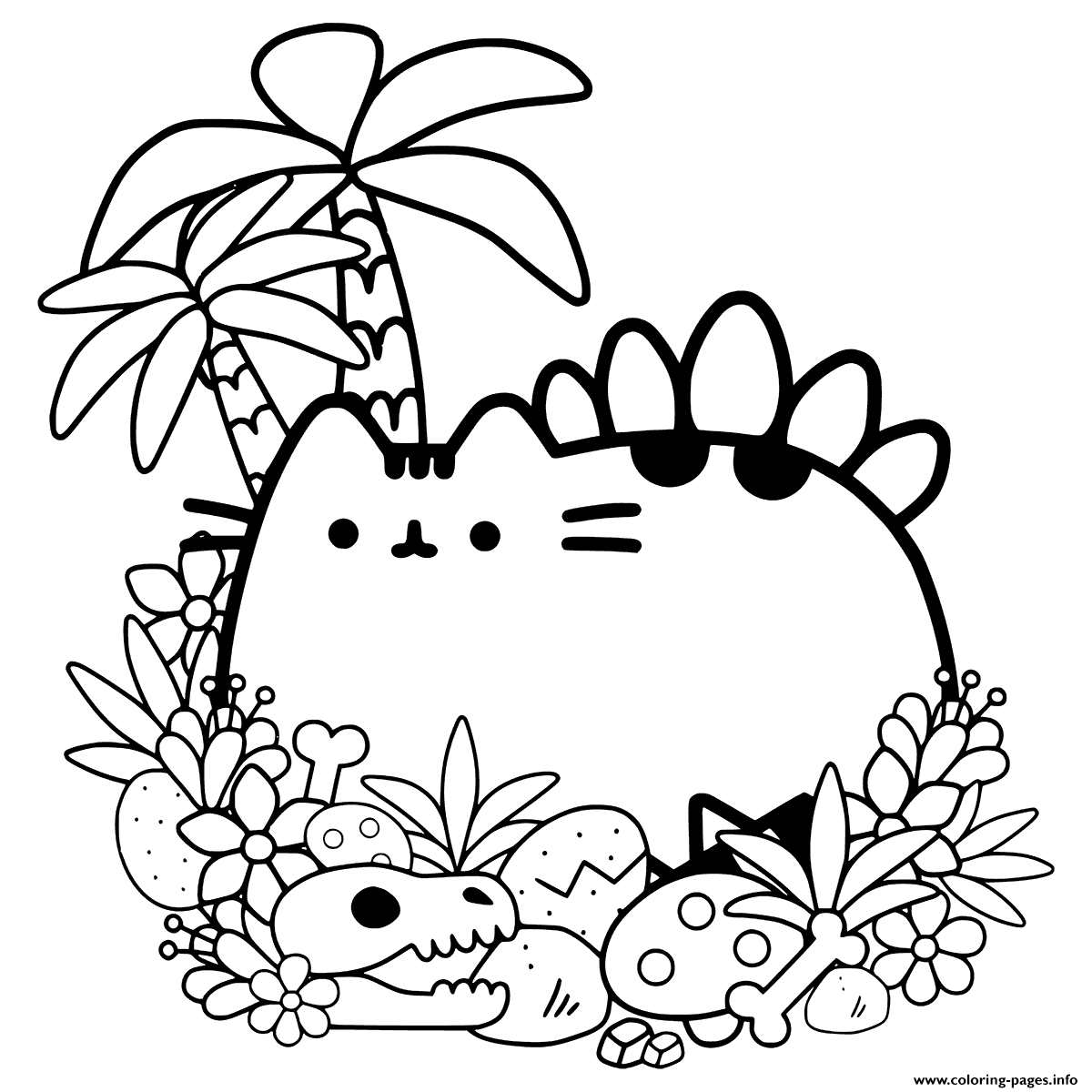 Pusheen Cave Cat Coloring Pages Printable