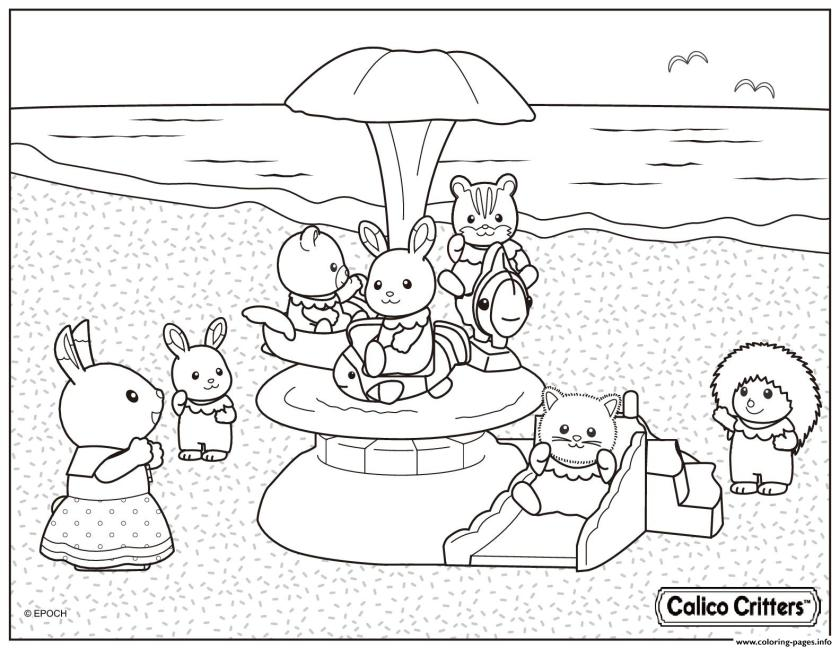 calico critters in the beach for vacation coloring pages