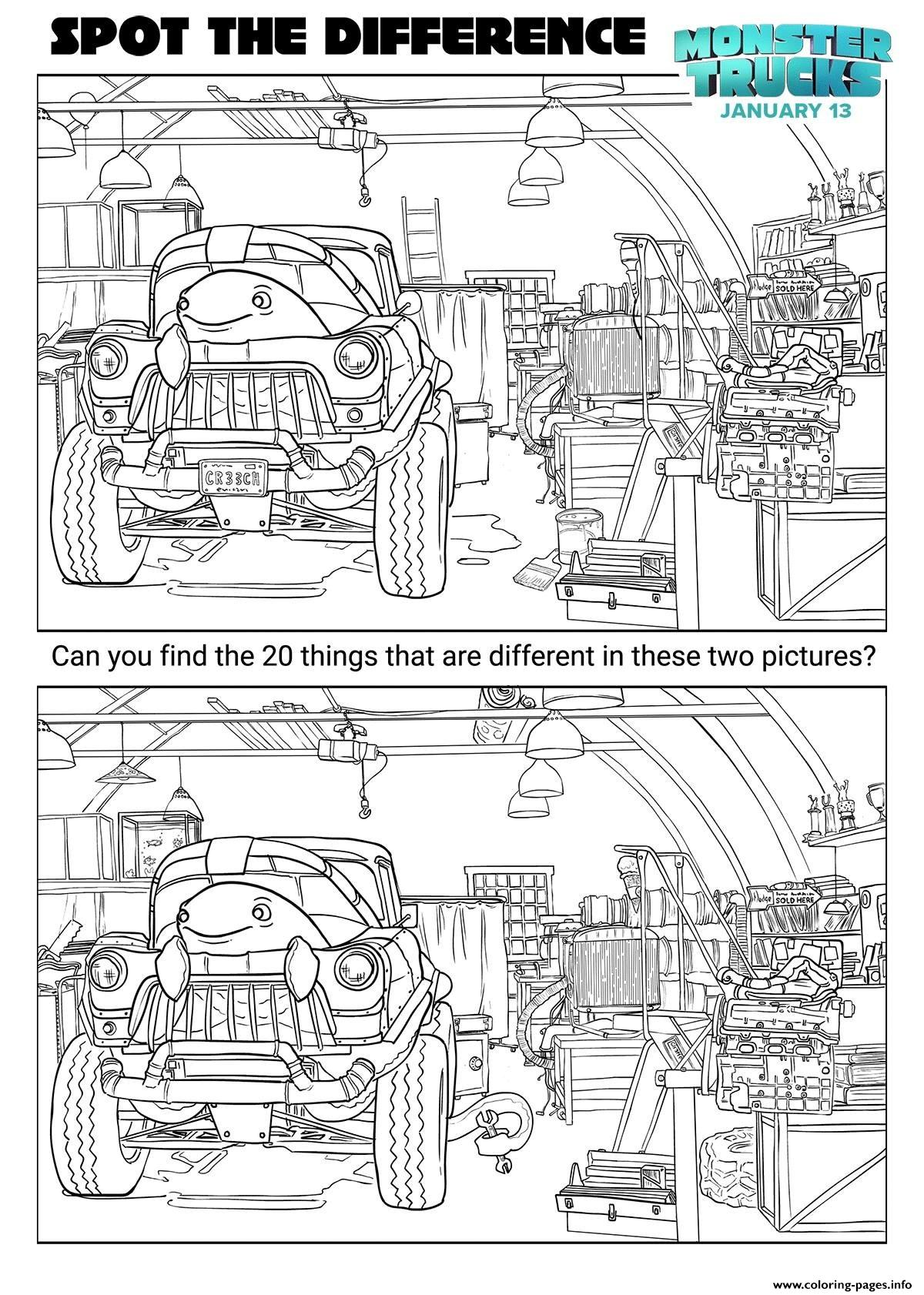 Monster Trucks Activity Sheets Spot The Difference