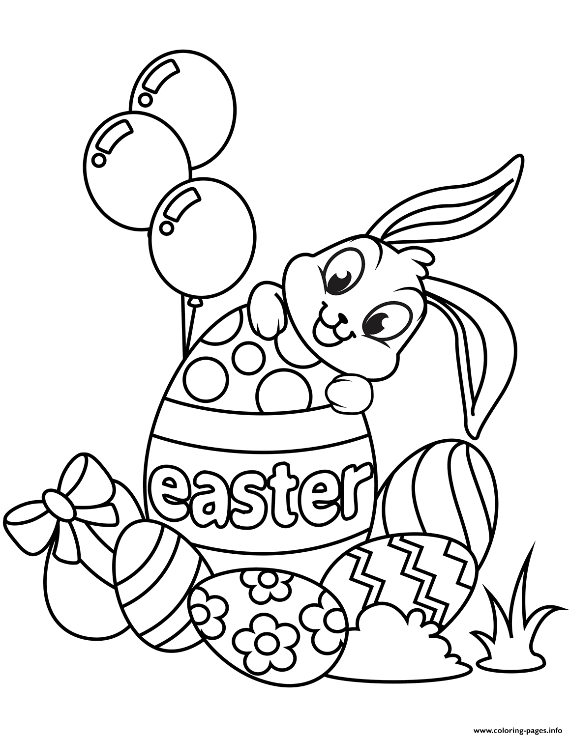 Cute Easter Bunny And Eggs Coloring Pages Printable