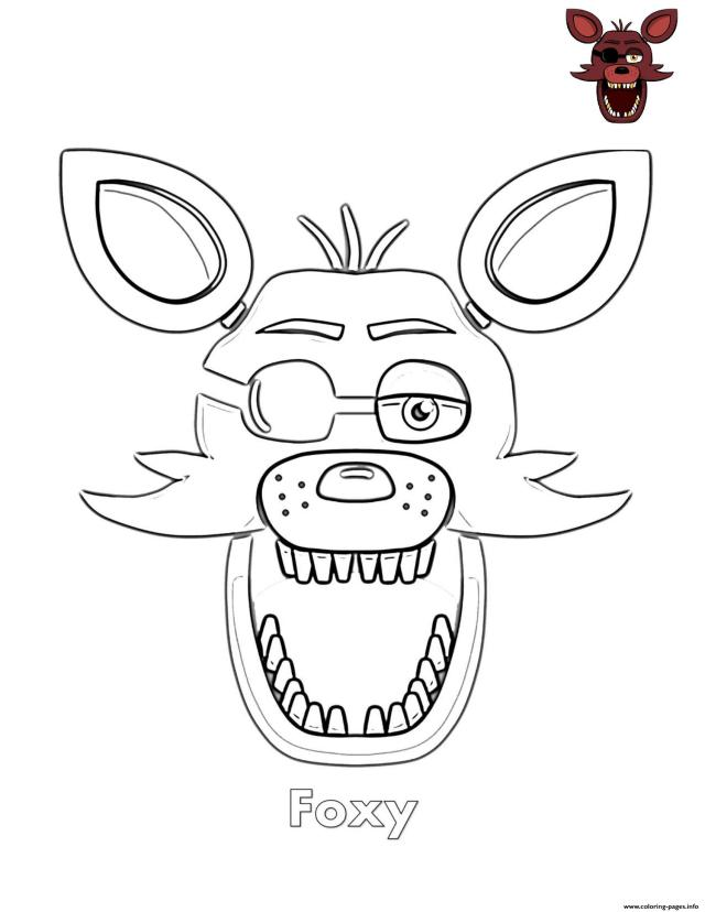 Foxy Face FNAF Coloring Pages Printable