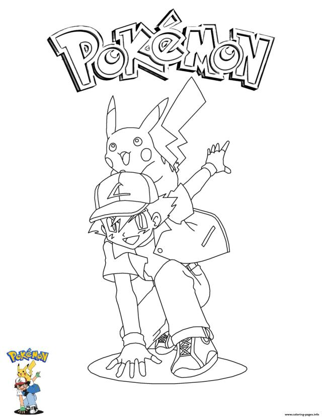 Ash And Pikachu Pokemon Coloring Pages Printable