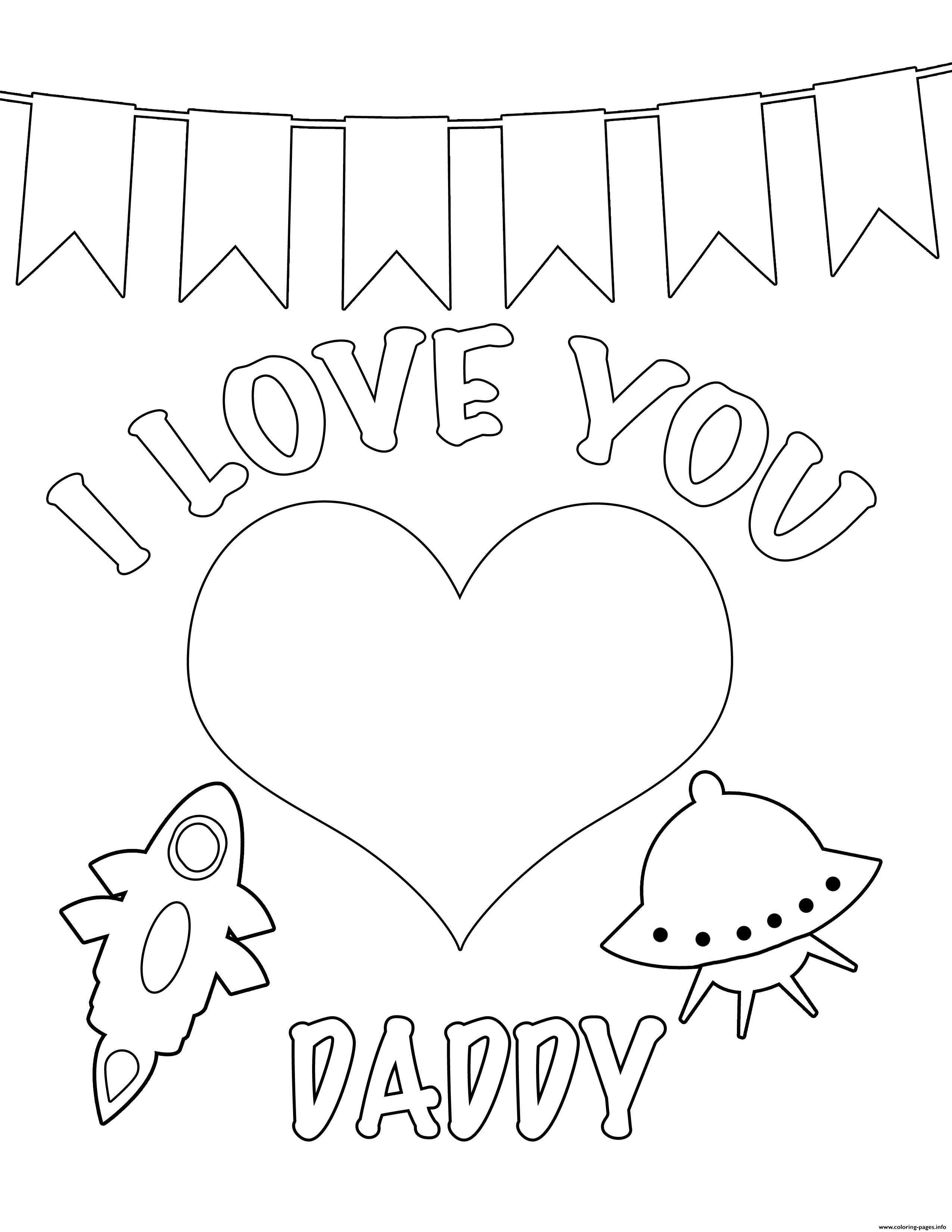 I Love You Daddy Kids Coloring Pages Printable