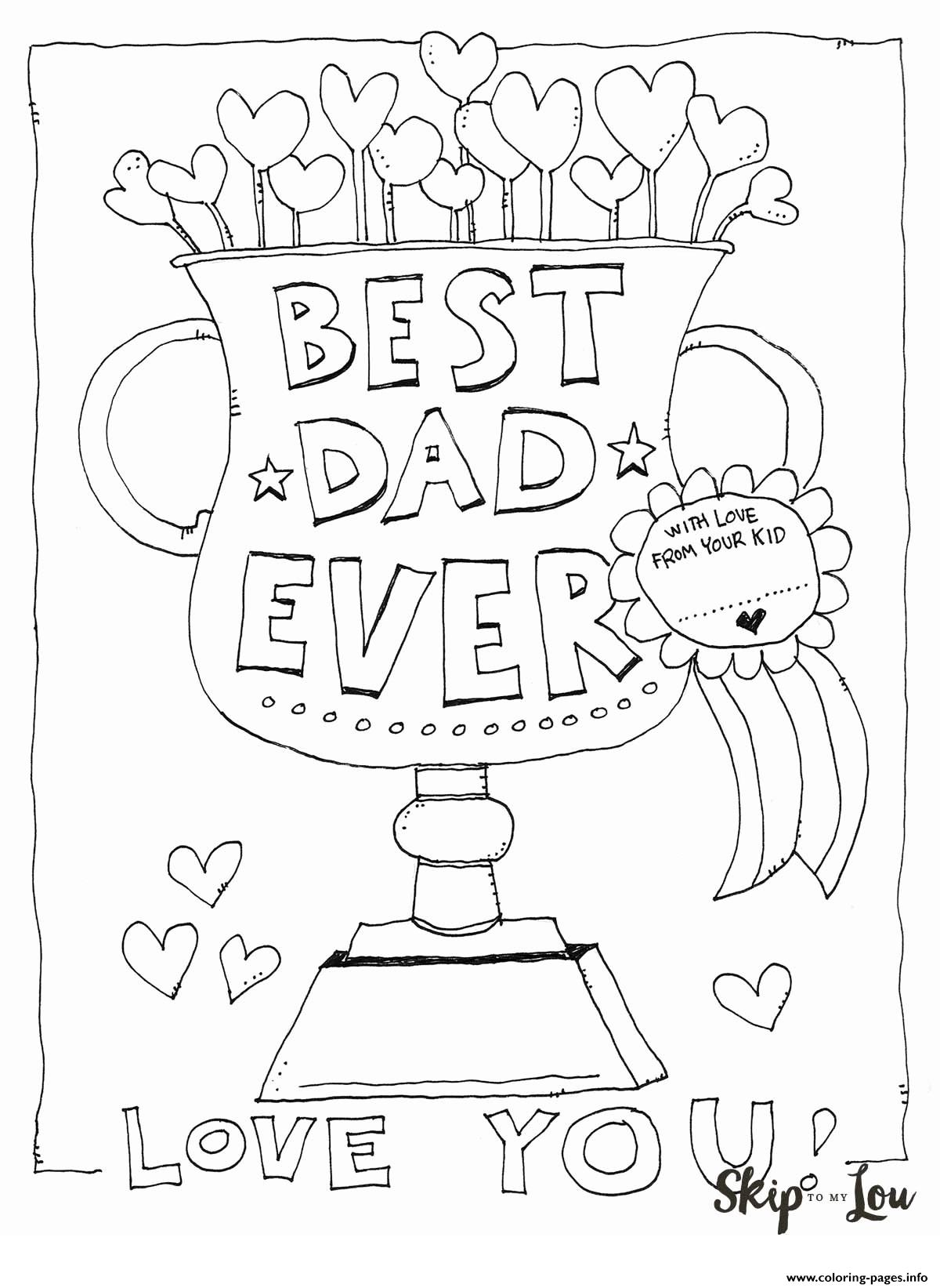 Best Dad Ever Love You Fathers Day Coloring Pages Printable