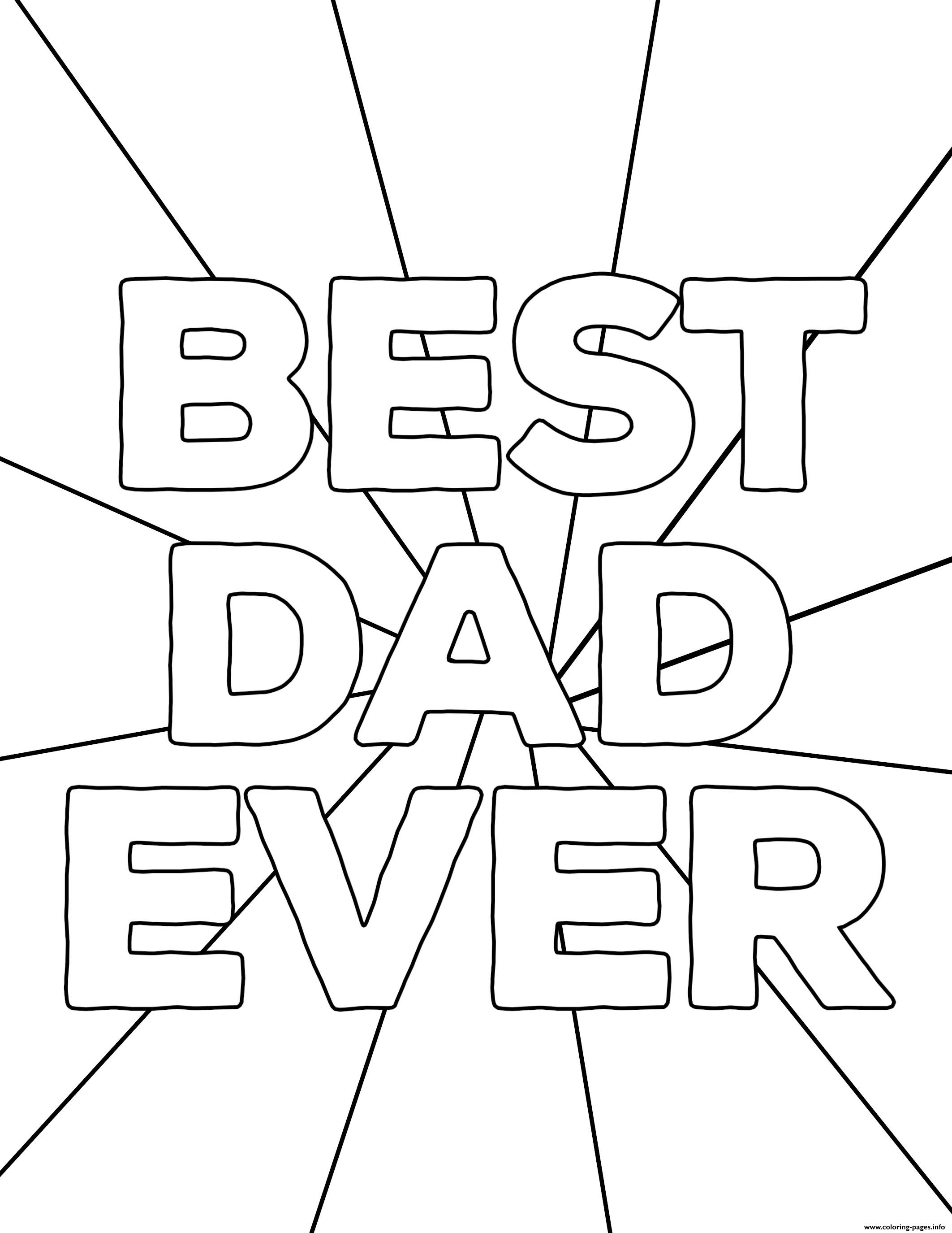 Best Dad Ever Fathers Day Coloring Pages Printable