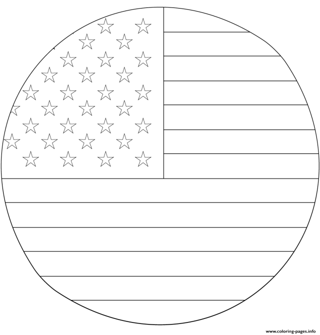 American Flag In Circle Coloring Pages Printable
