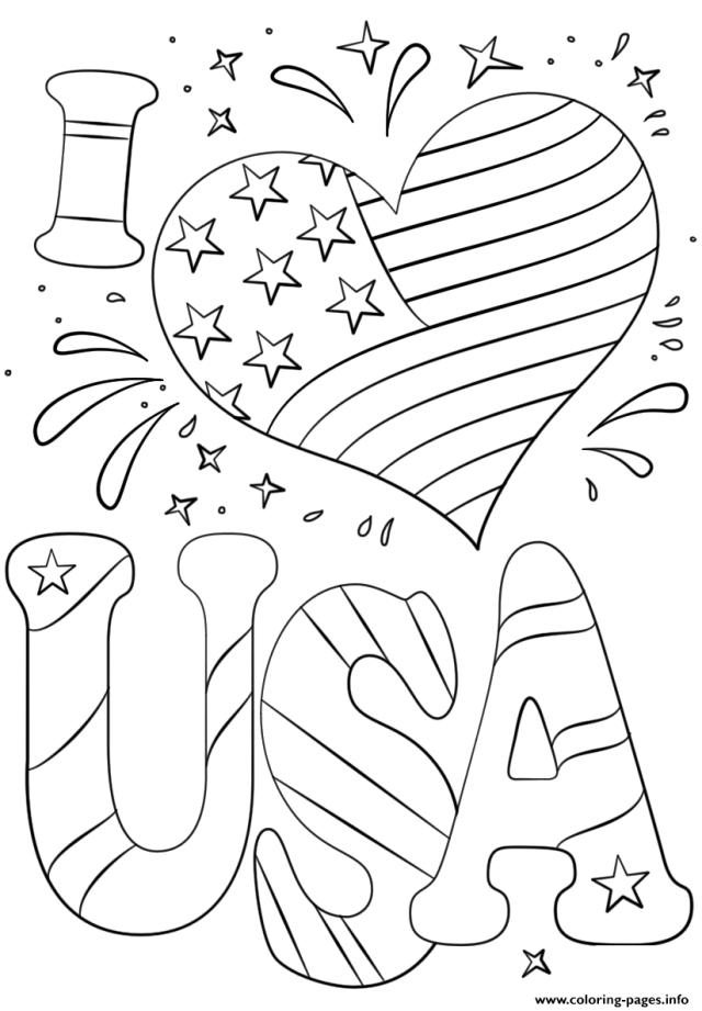 I Love Usa 26th July Coloring Pages Printable