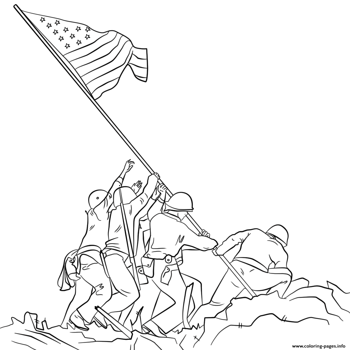 Raising The Flag On Iwo Jima Coloring Pages Printable