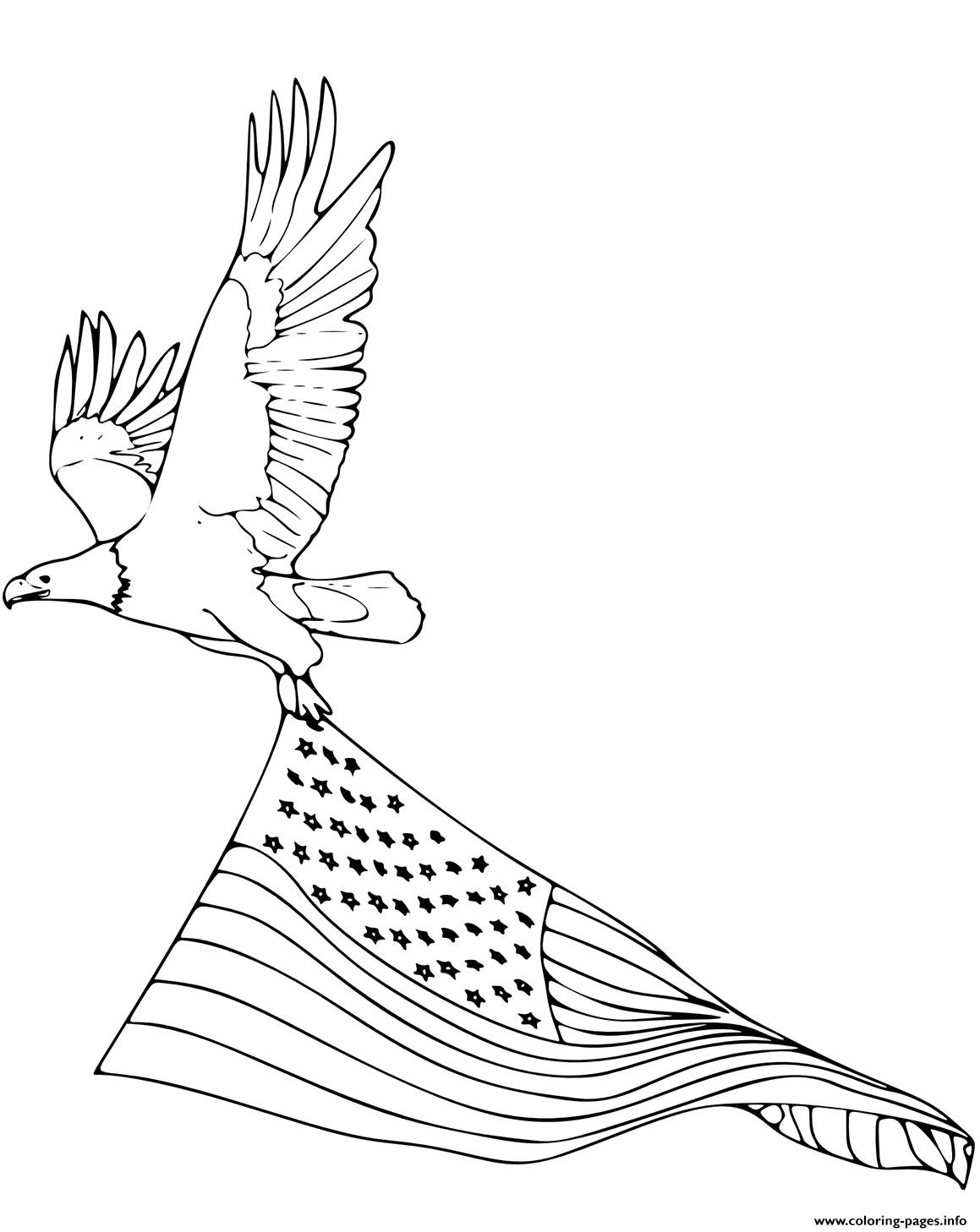 Bald Eagle Carrying American Flag Coloring Pages Printable