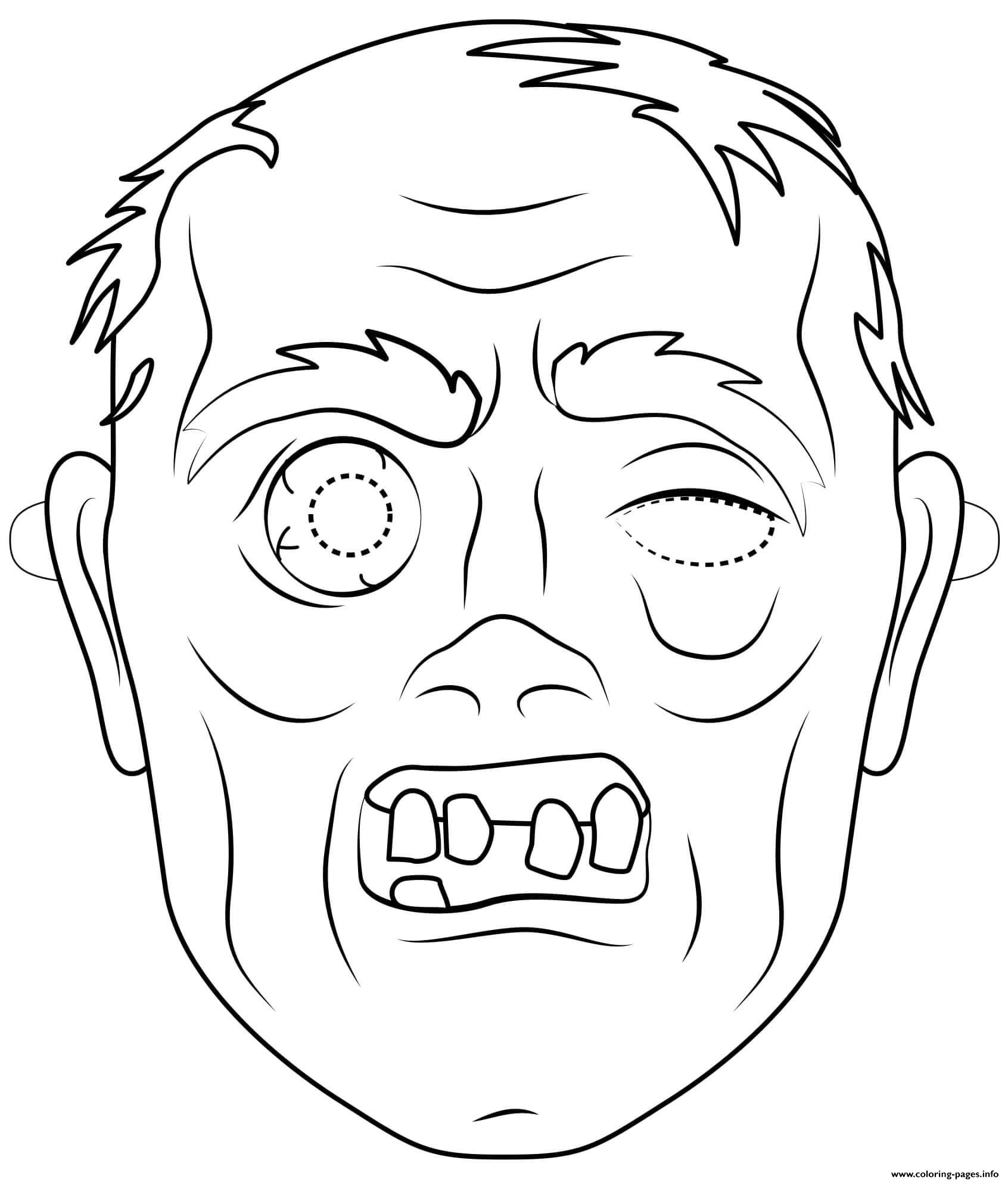 Zombie Mask Outline Halloween Coloring Pages Printable