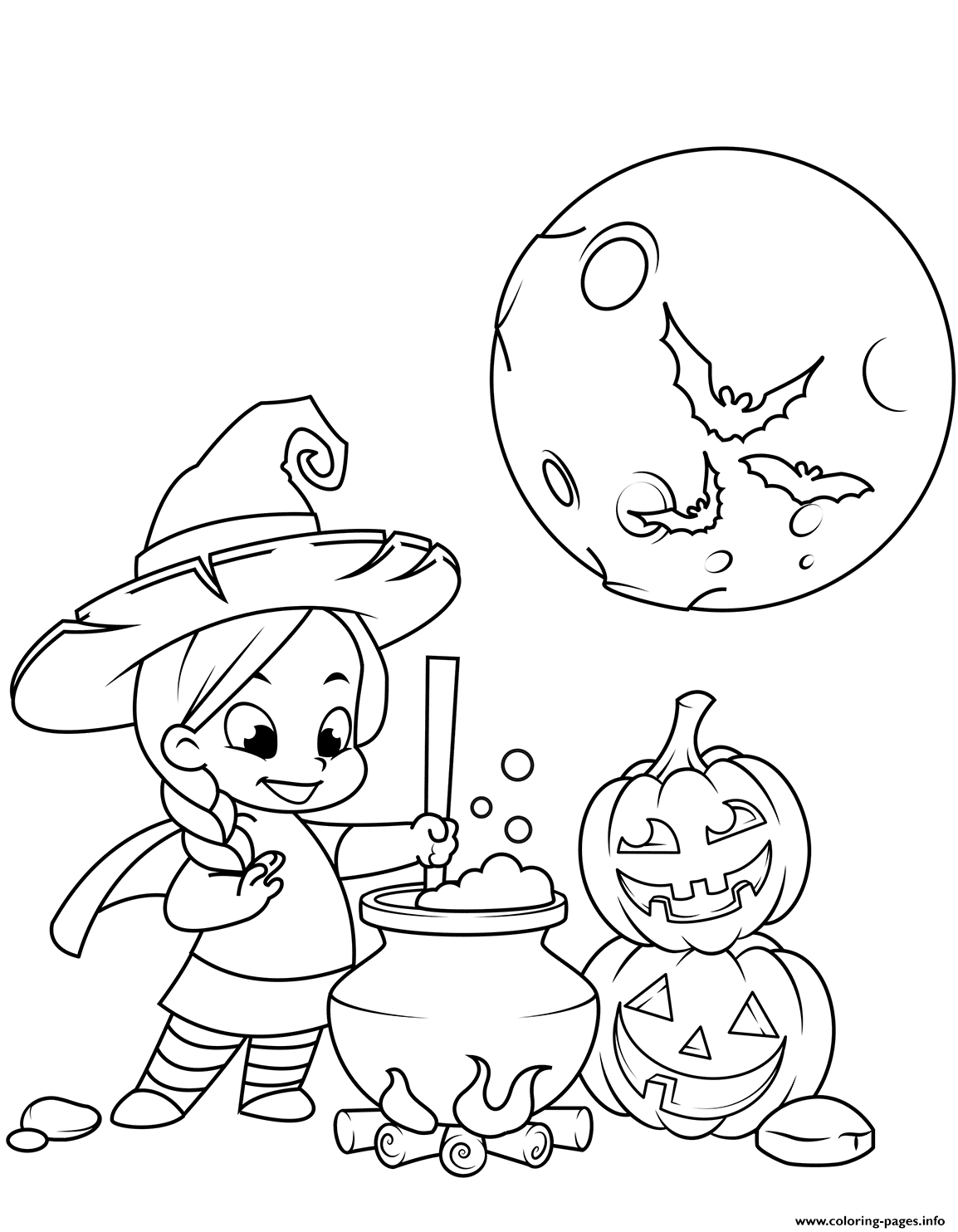 Cute Little Witch Cooking A Potion In A Cauldron Halloween