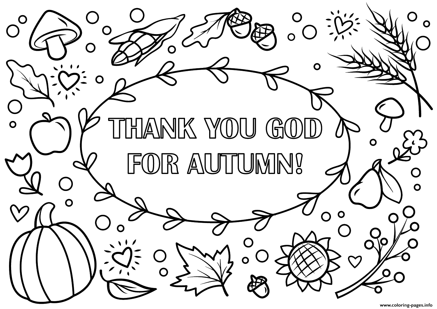Thank You God For Autumn Fall Coloring Pages Printable