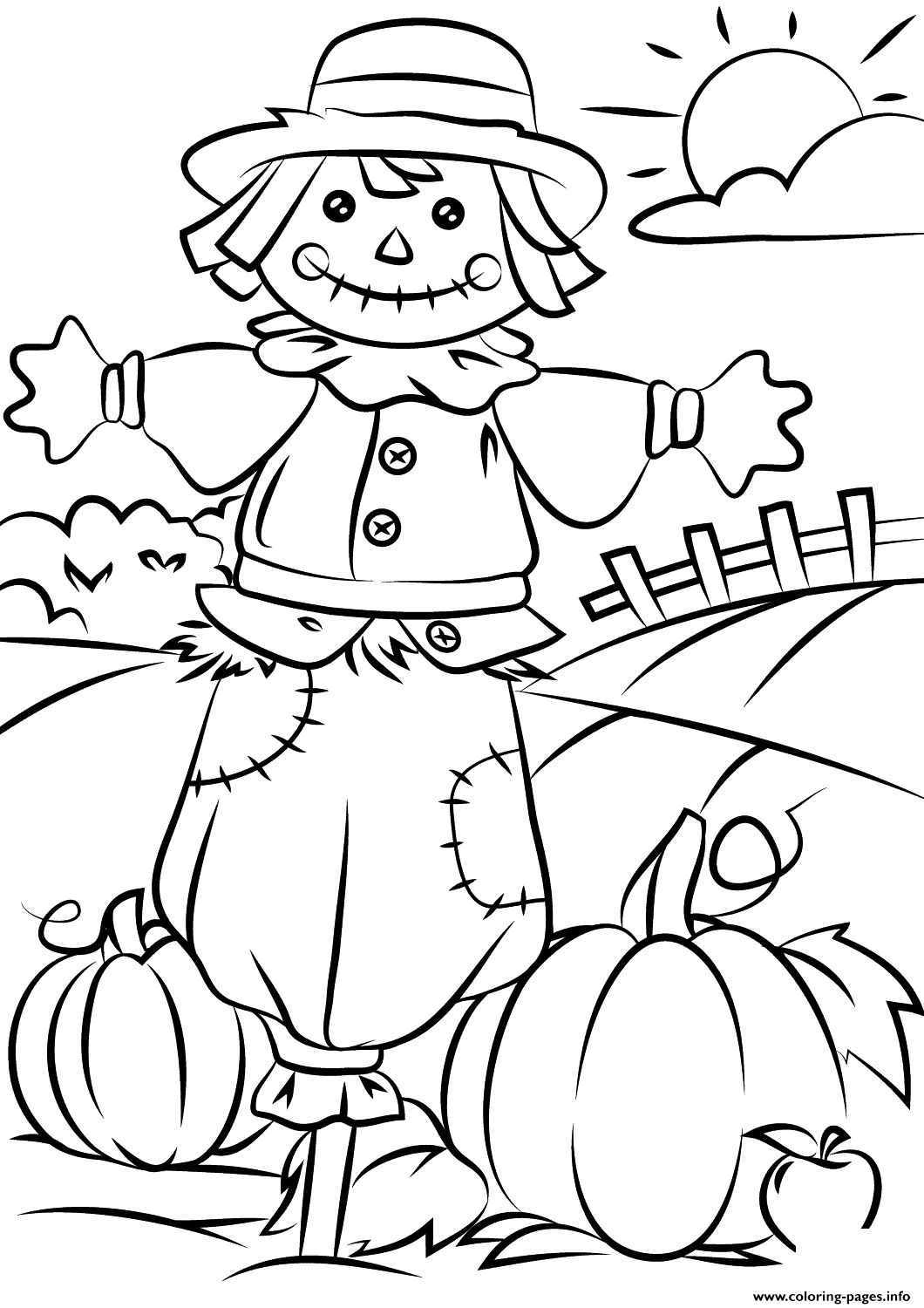 Autumn Scene Fall Coloring Pages Printable