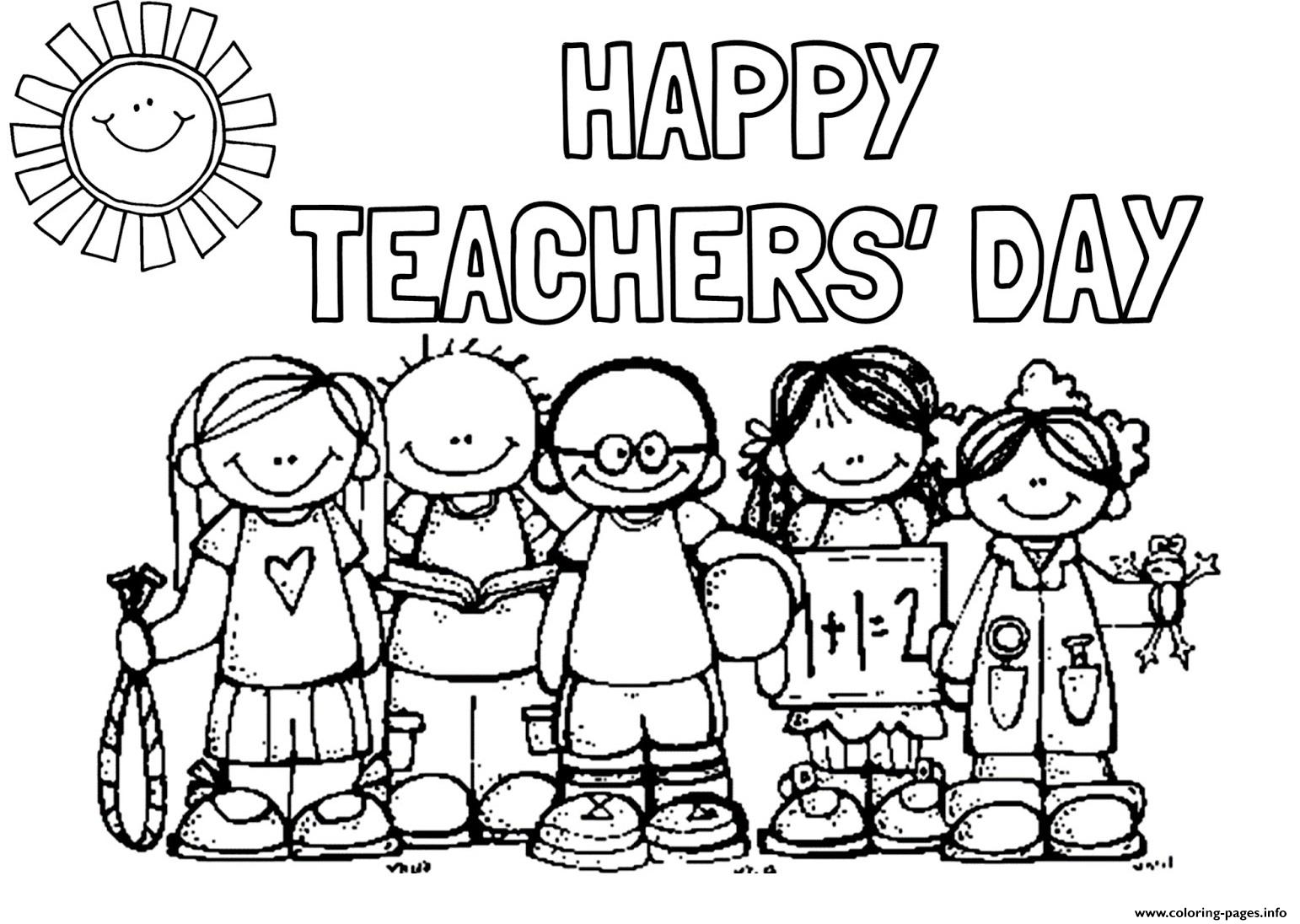 Happy Teachers Day Students Picture Coloring Pages Printable