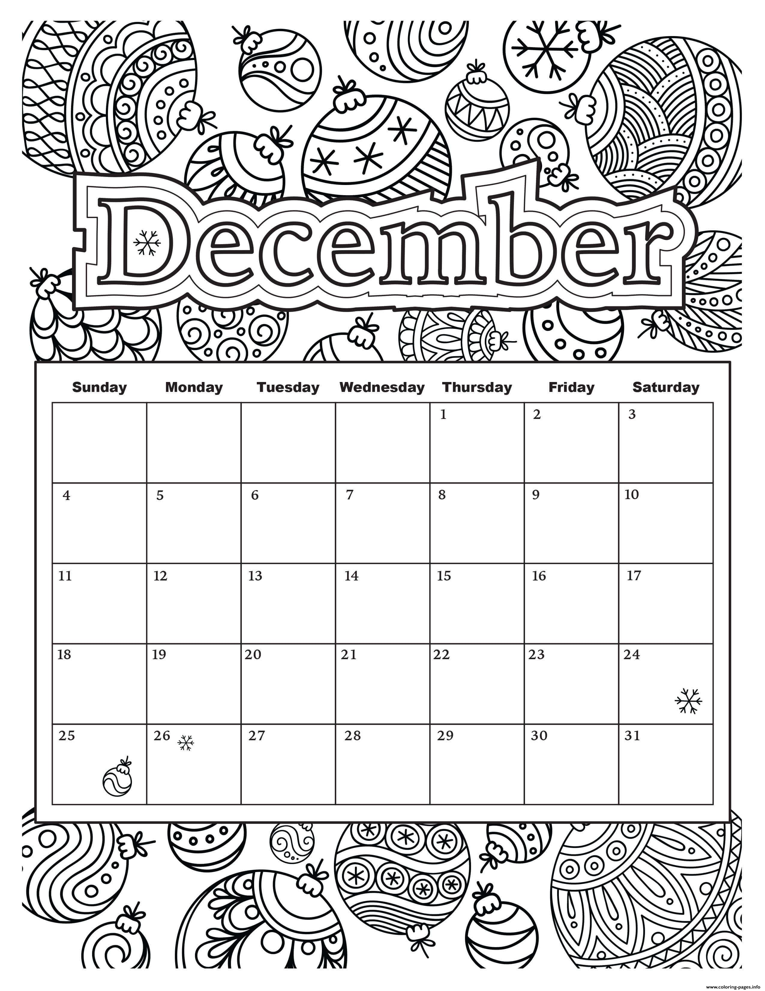 December Calendar Holiday Coloring Pages Printable