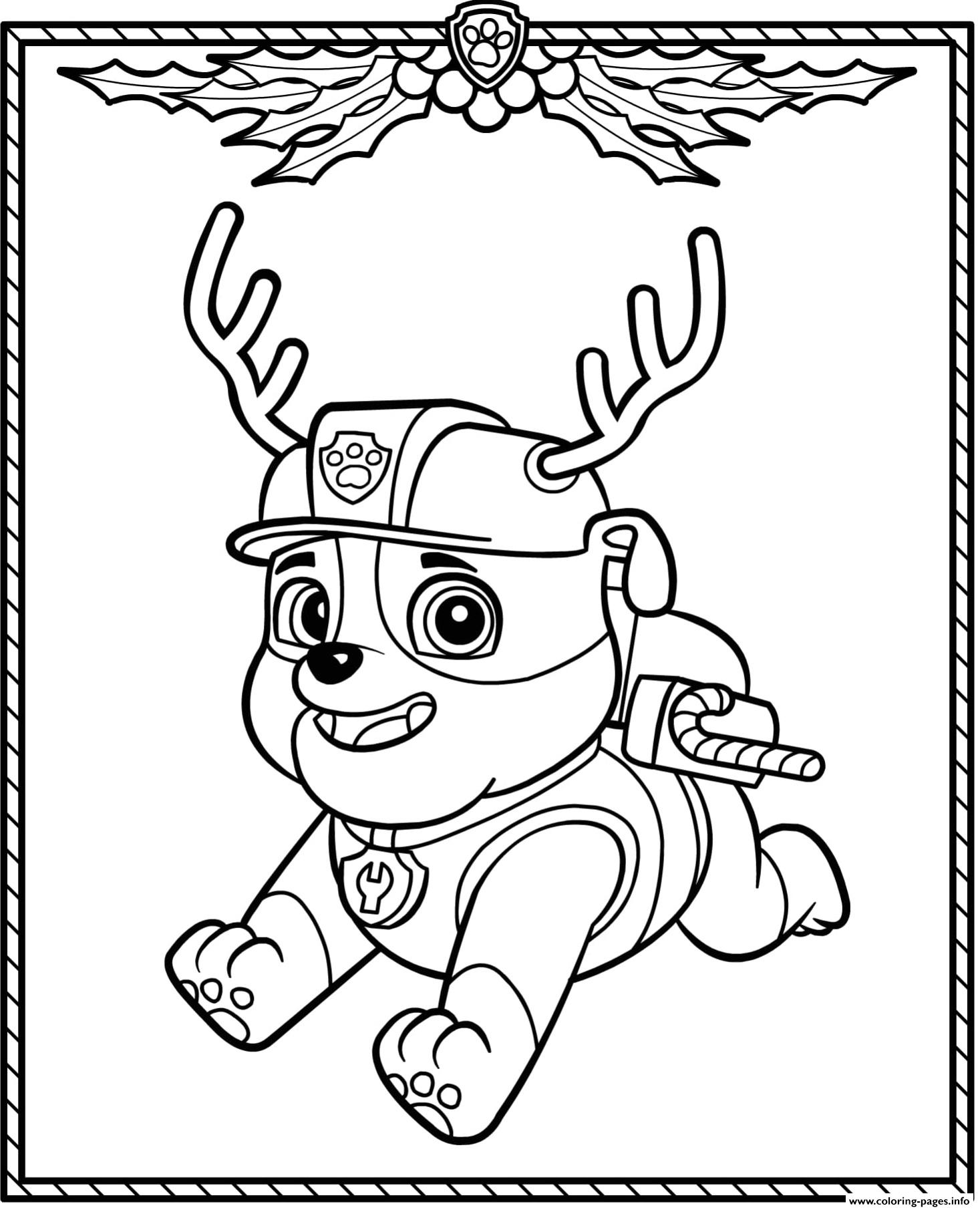 Paw Patrol Holiday Christmas Rubble Coloring Pages Printable