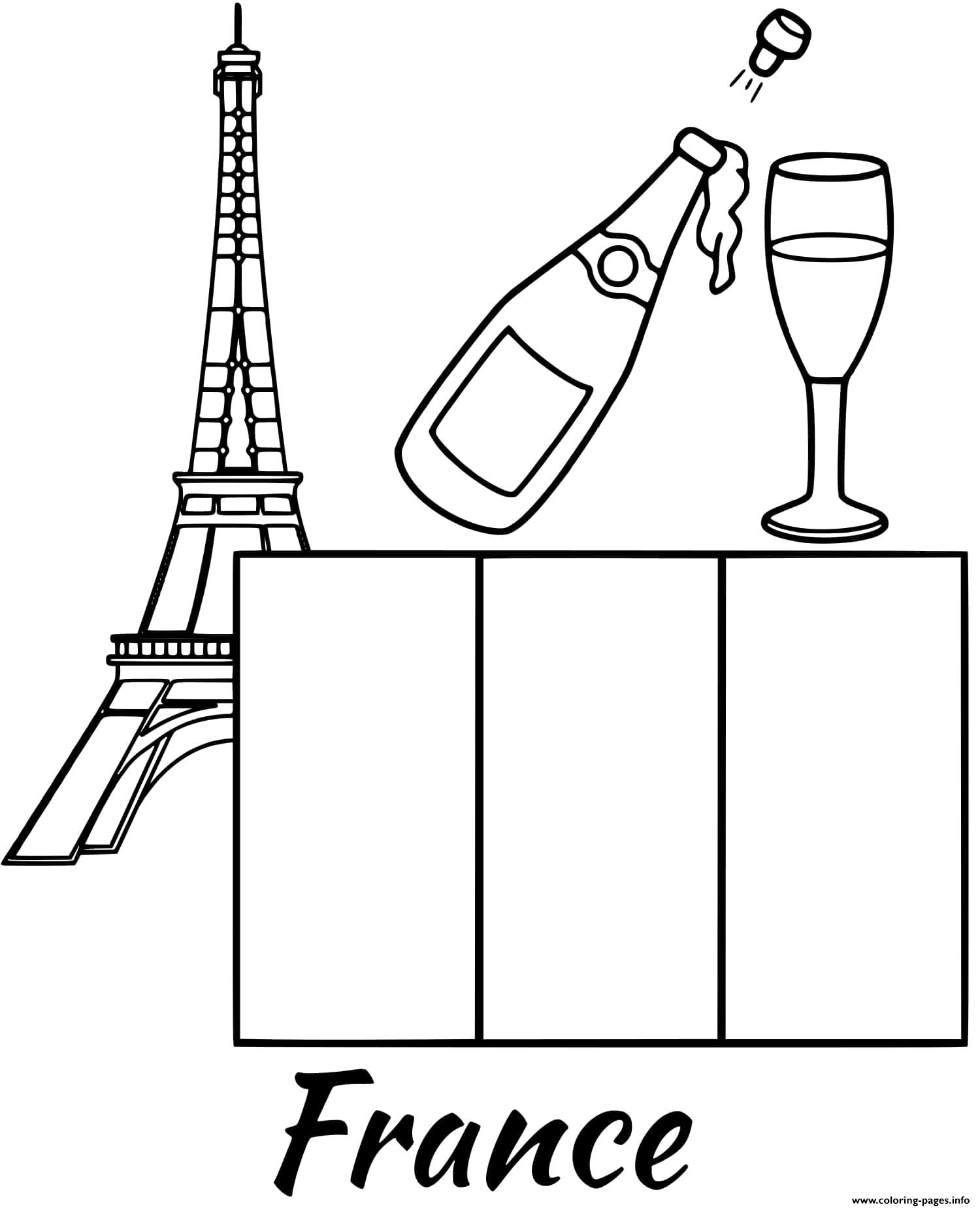 France Flag Eiffel Tower Coloring Pages Printable