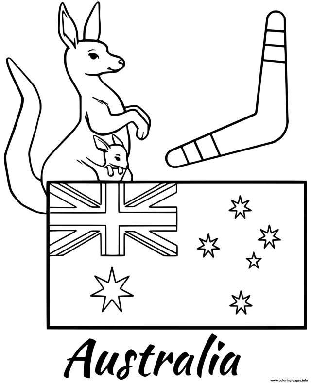 Australia Flag Boomerang Coloring Pages Printable