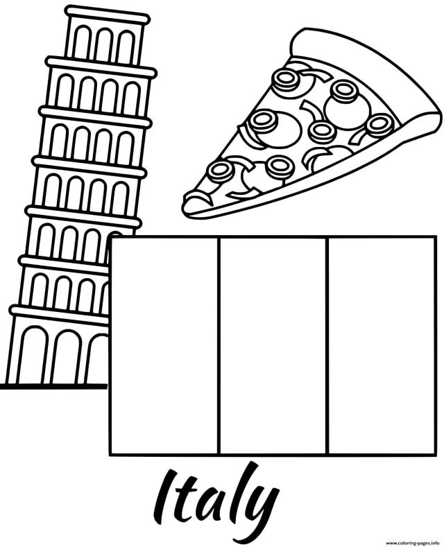Italy Flag Piza Coloring Pages Printable