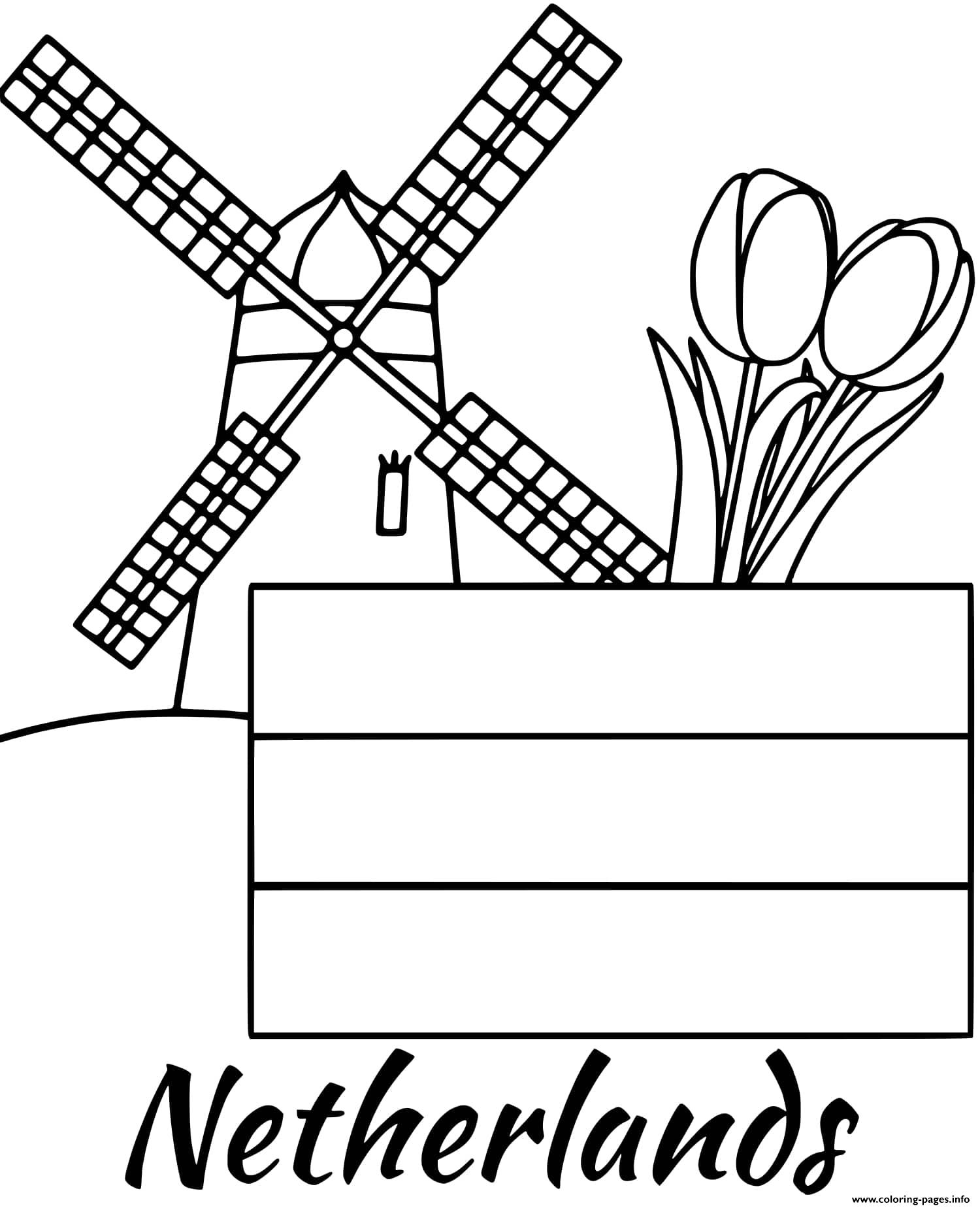 Netherlands Flag Windmill Coloring Pages Printable