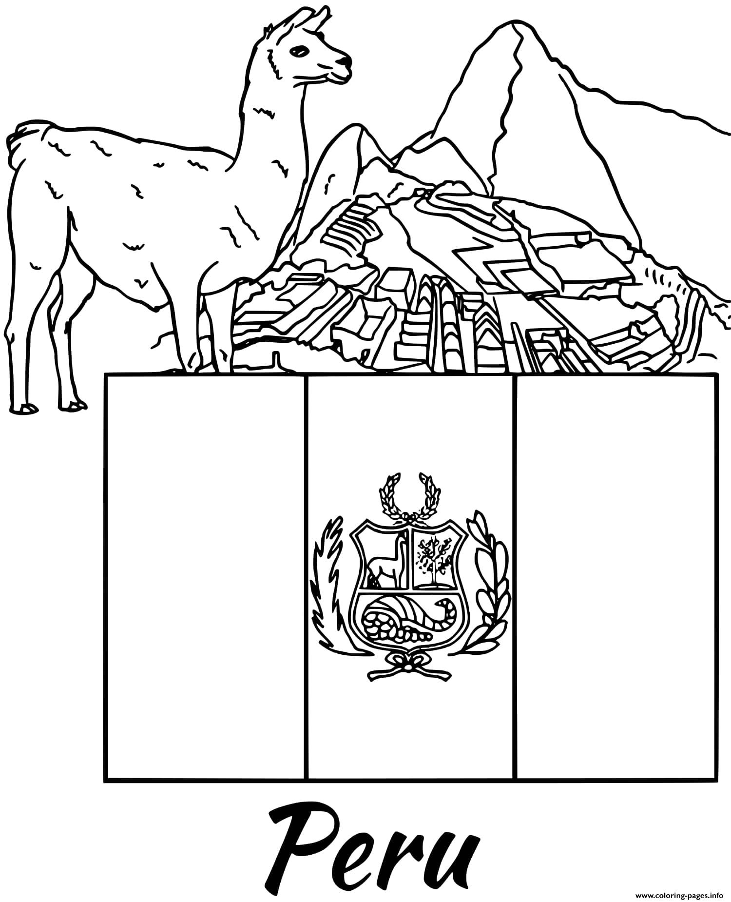 Peru Flag Alpaca Coloring Pages Printable