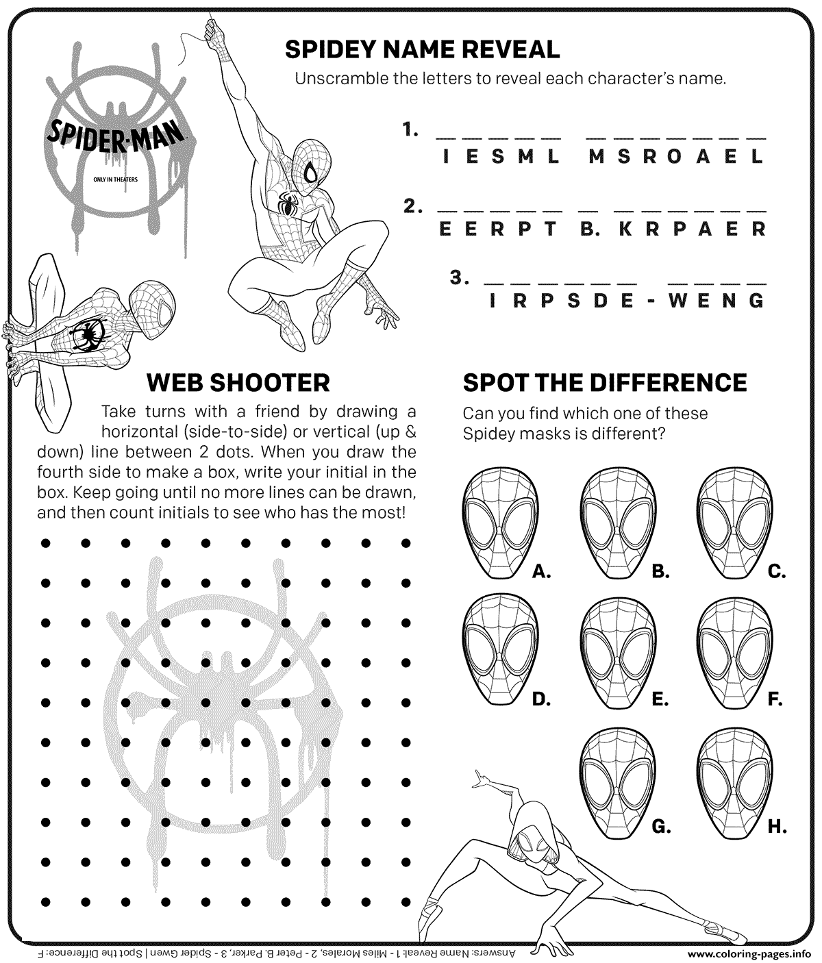 Spider Man Itsv Coloring Activities Coloring Pages Printable