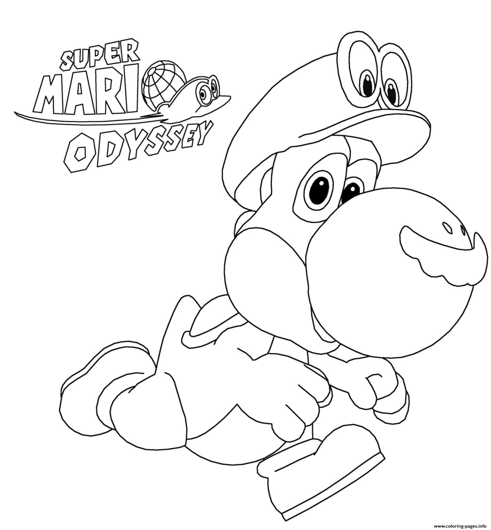 Super Mario Odyssey Yoshi Nintendo Coloring Pages Printable