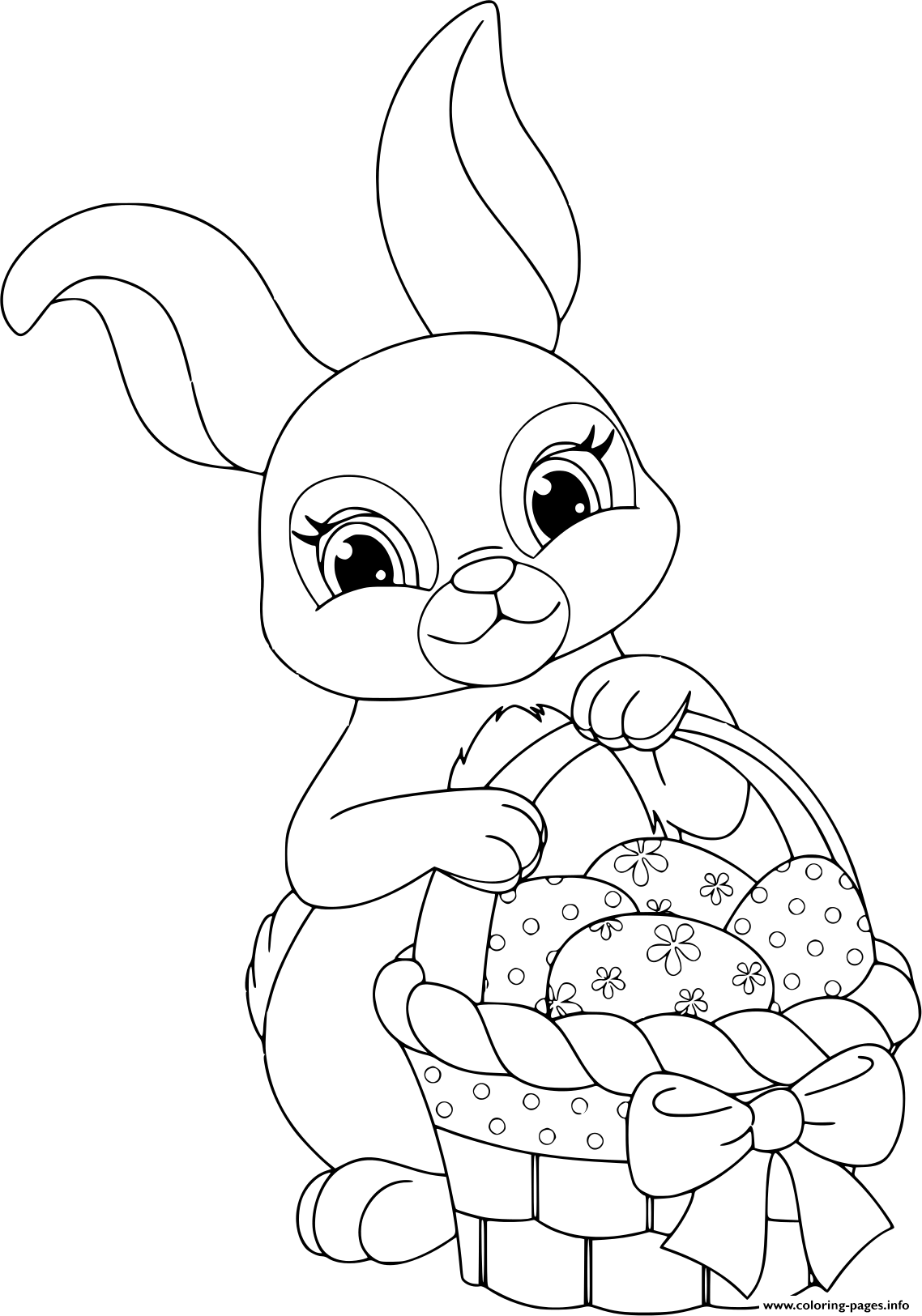 Easter Rabbit With Basket And Eggs Coloring Pages Printable