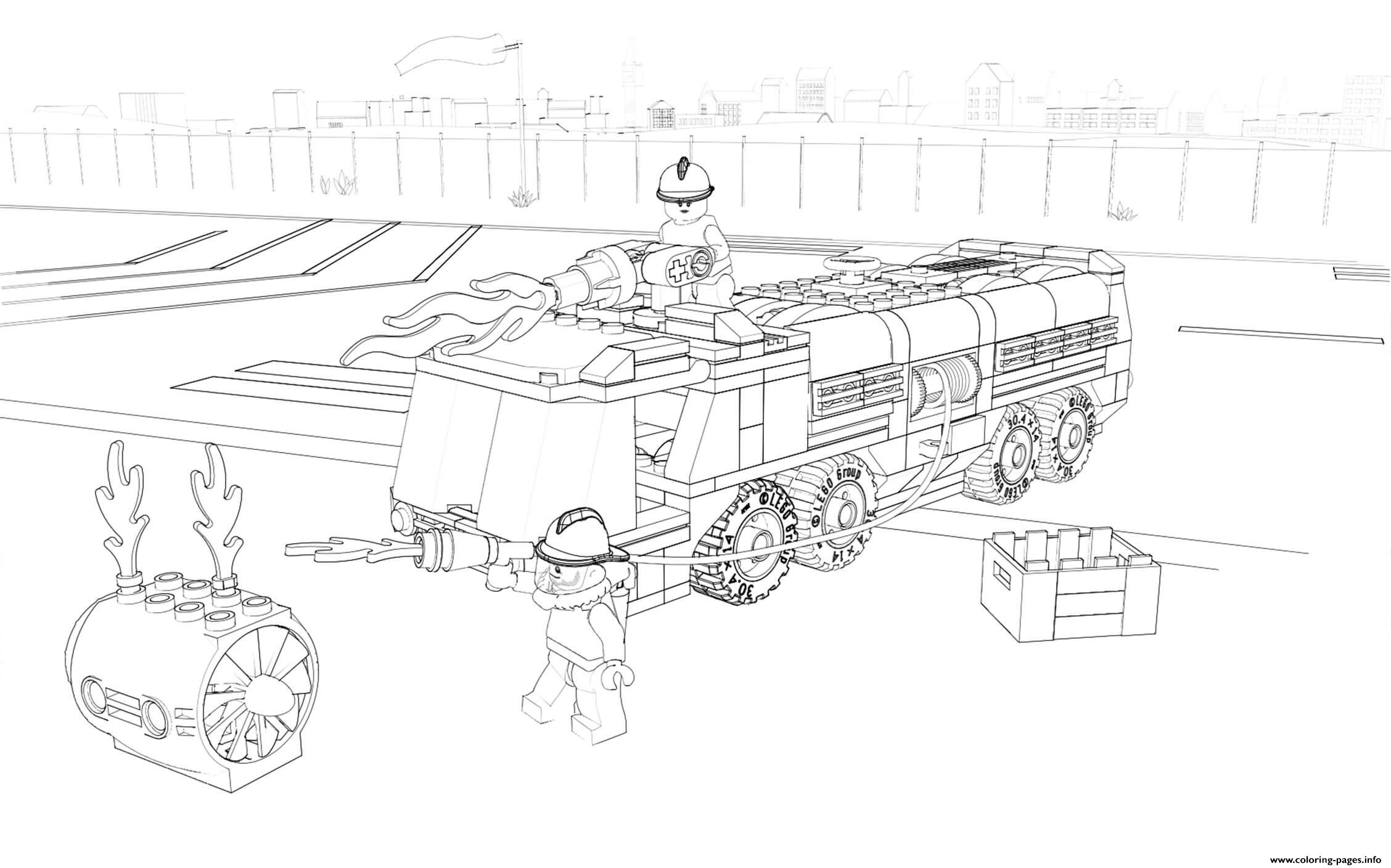 Lego City Firefighter Fire Truck Coloring Pages Printable