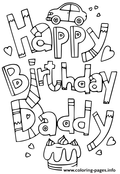 Happy Birthday Daddy Doodle Coloring Pages Printable